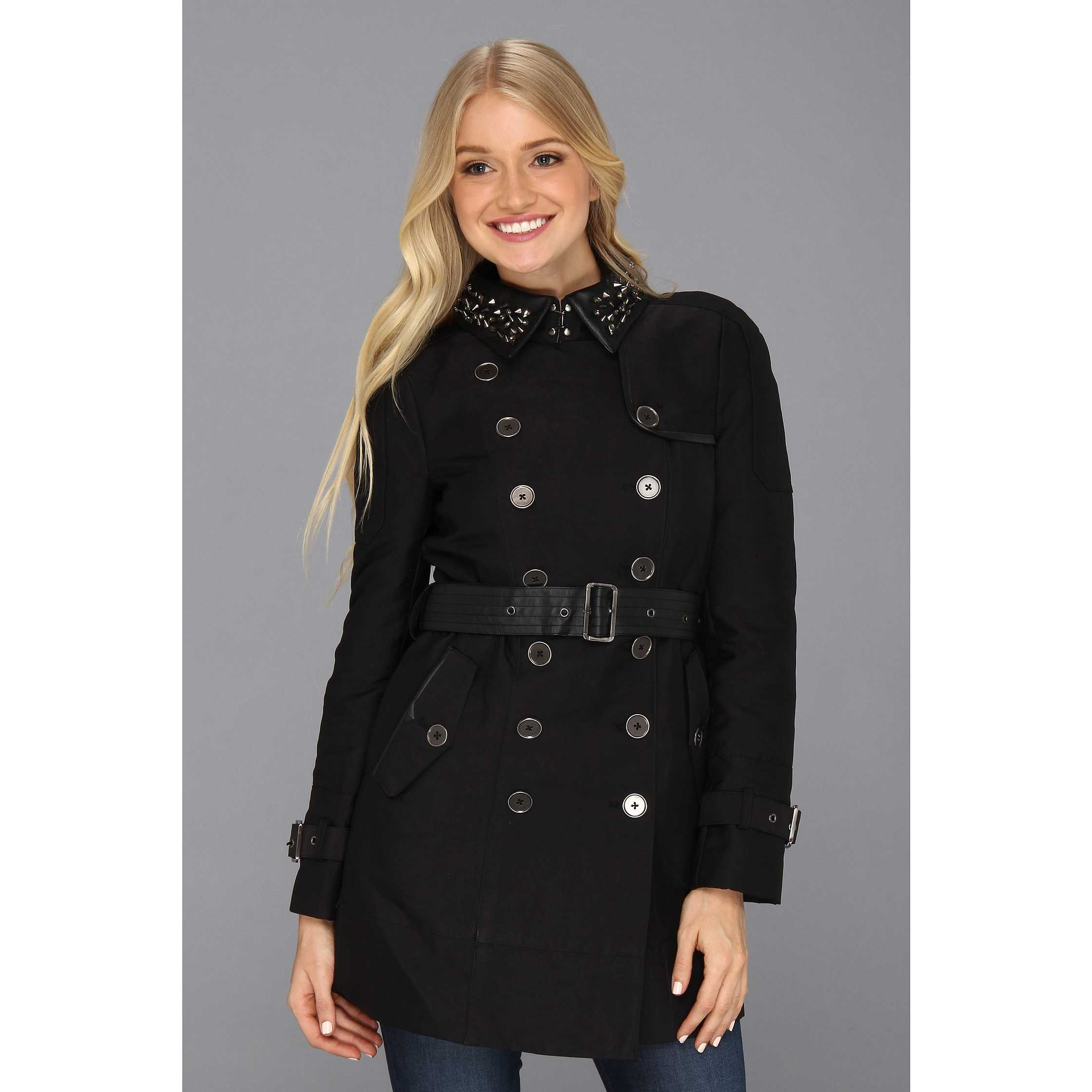 Sam Edelman Kendrix Studded Collar Trench Black trench dama