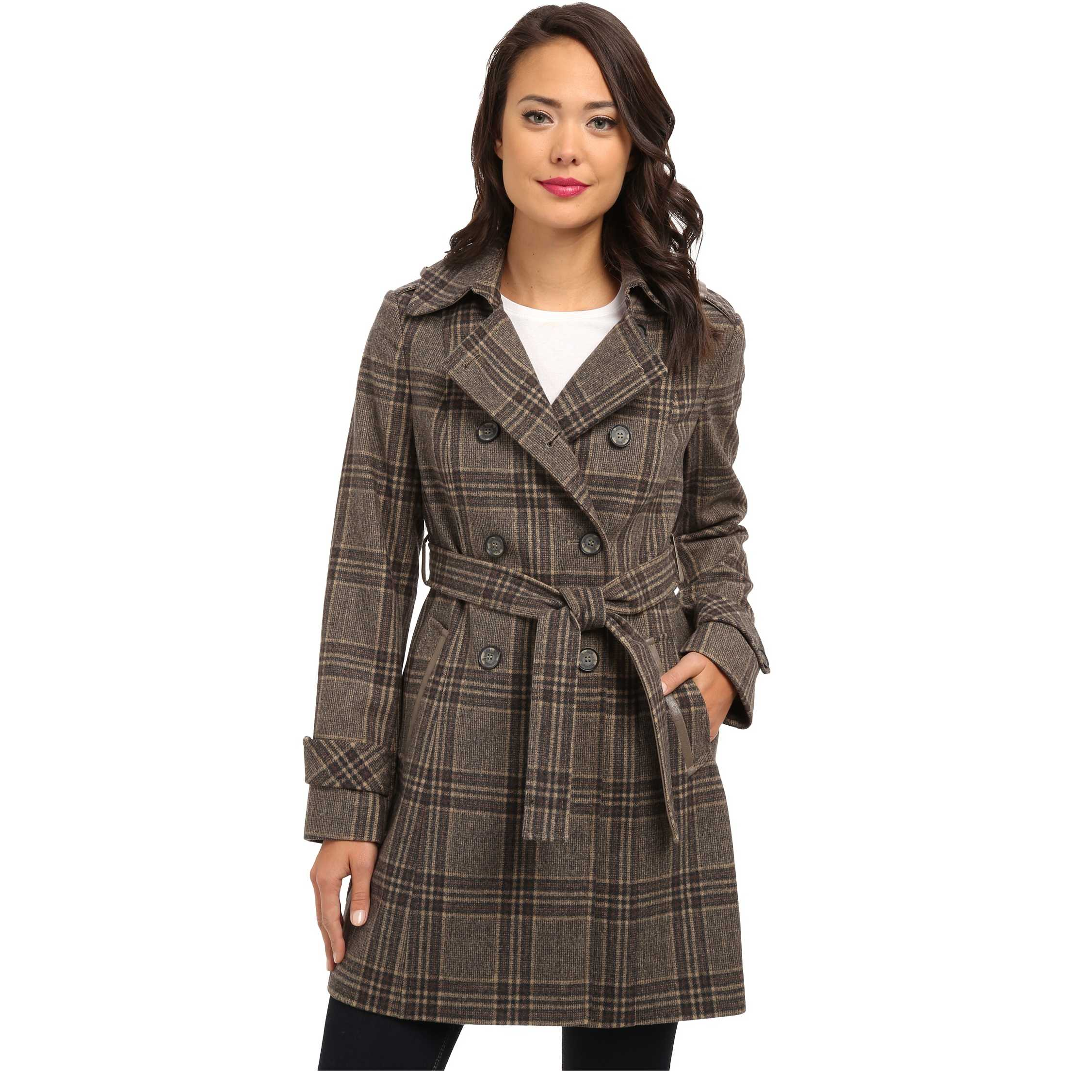 DKNY Double Breasted Menswear Plaid Trench Coat 93809-Y4 Brown Multi trench dama