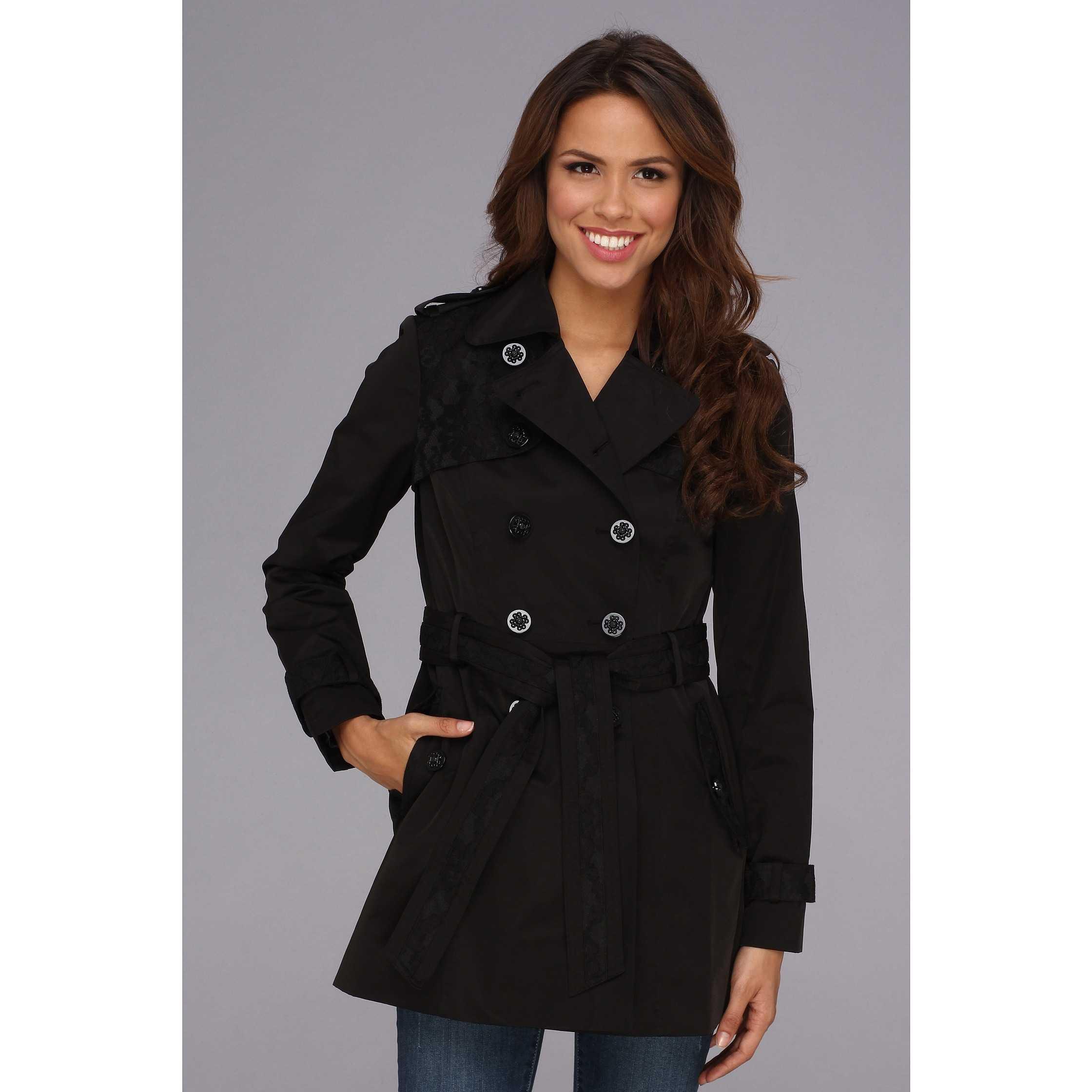 Jessica Simpson Lace Trim Trench Coat JOFMC619 Black trench dama