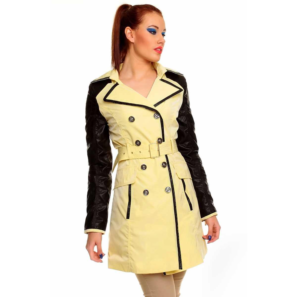 Trenci galben din tercot, modern, cu maneci negre trench dama