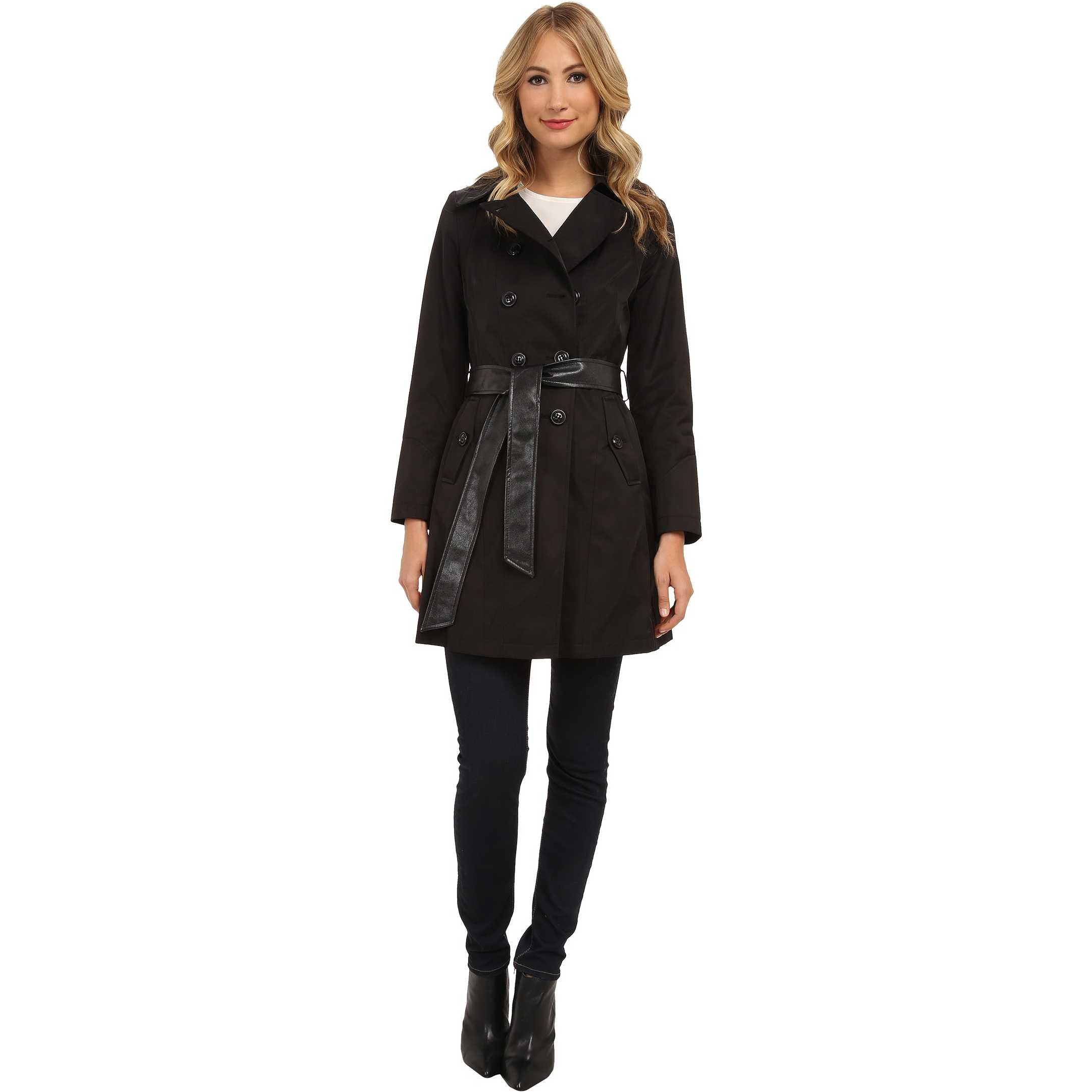 DKNY Double Breasted Belted Trench Coat w/ Faux Leather Trim 06200-Y4 Black trench dama