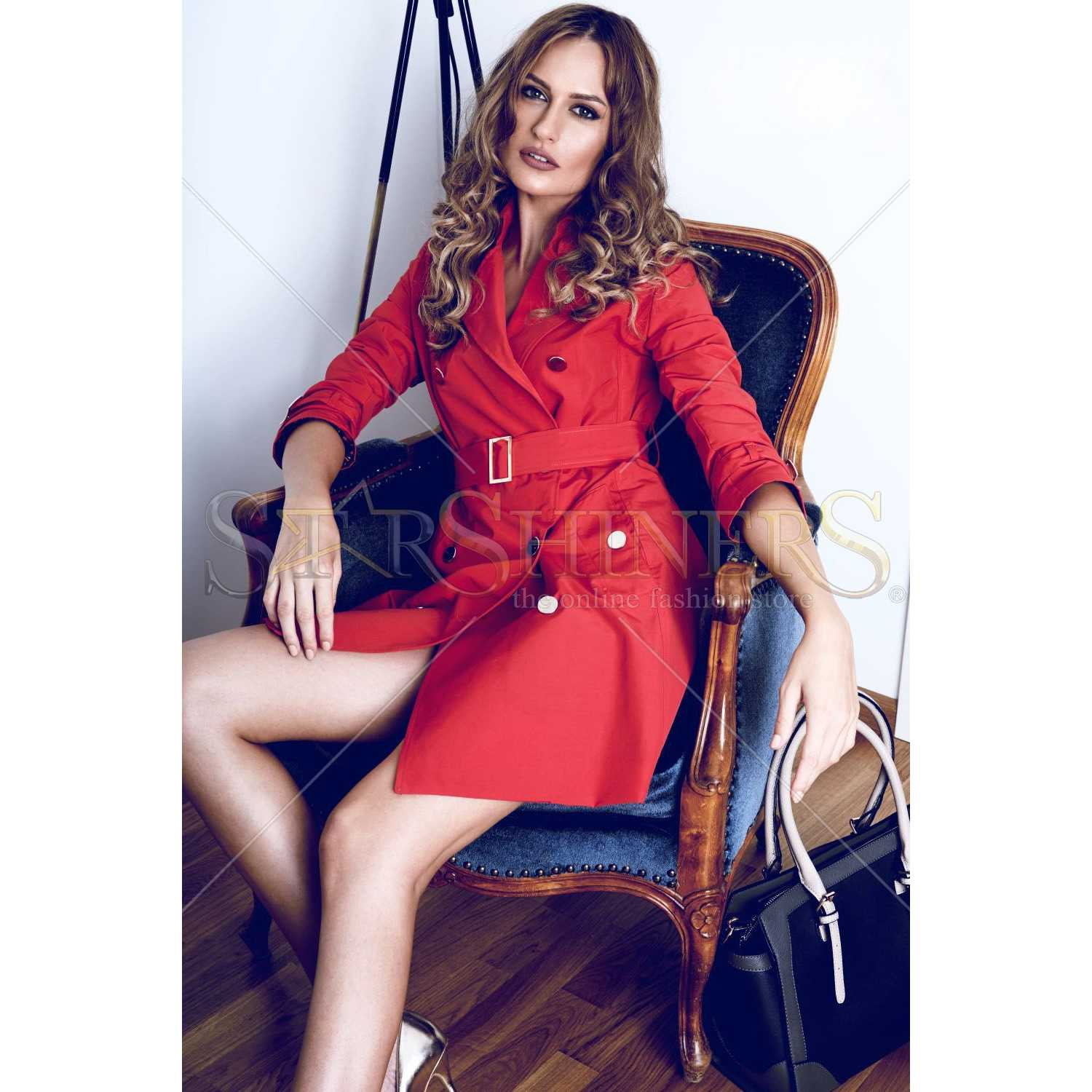 Trench PrettyGirl Modern Red trench dama