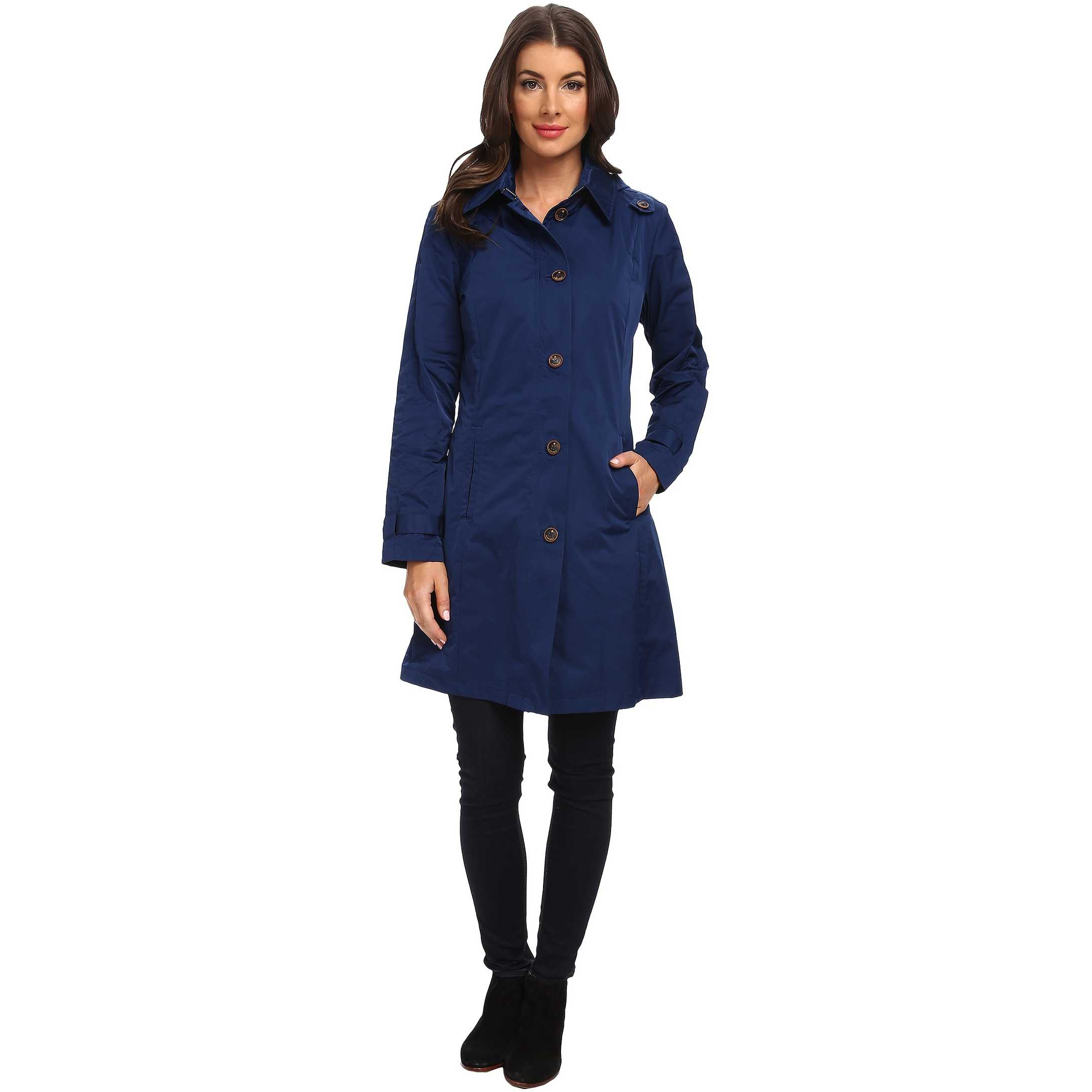 Rainforest Packable S/B Trench Coat Navy trench dama