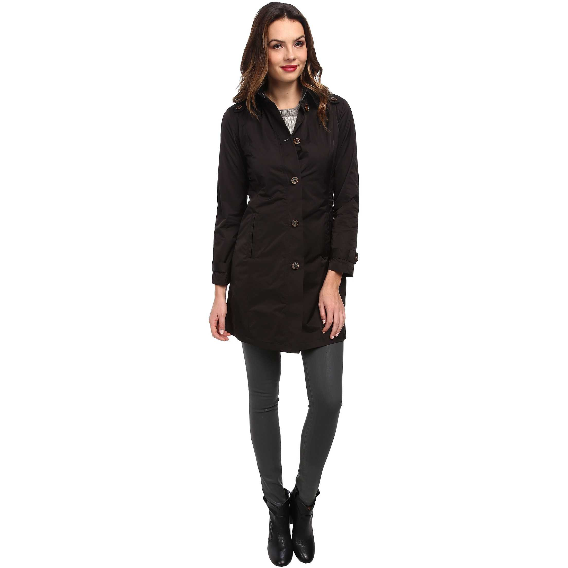 Rainforest Packable S/B Trench Coat Black trench dama