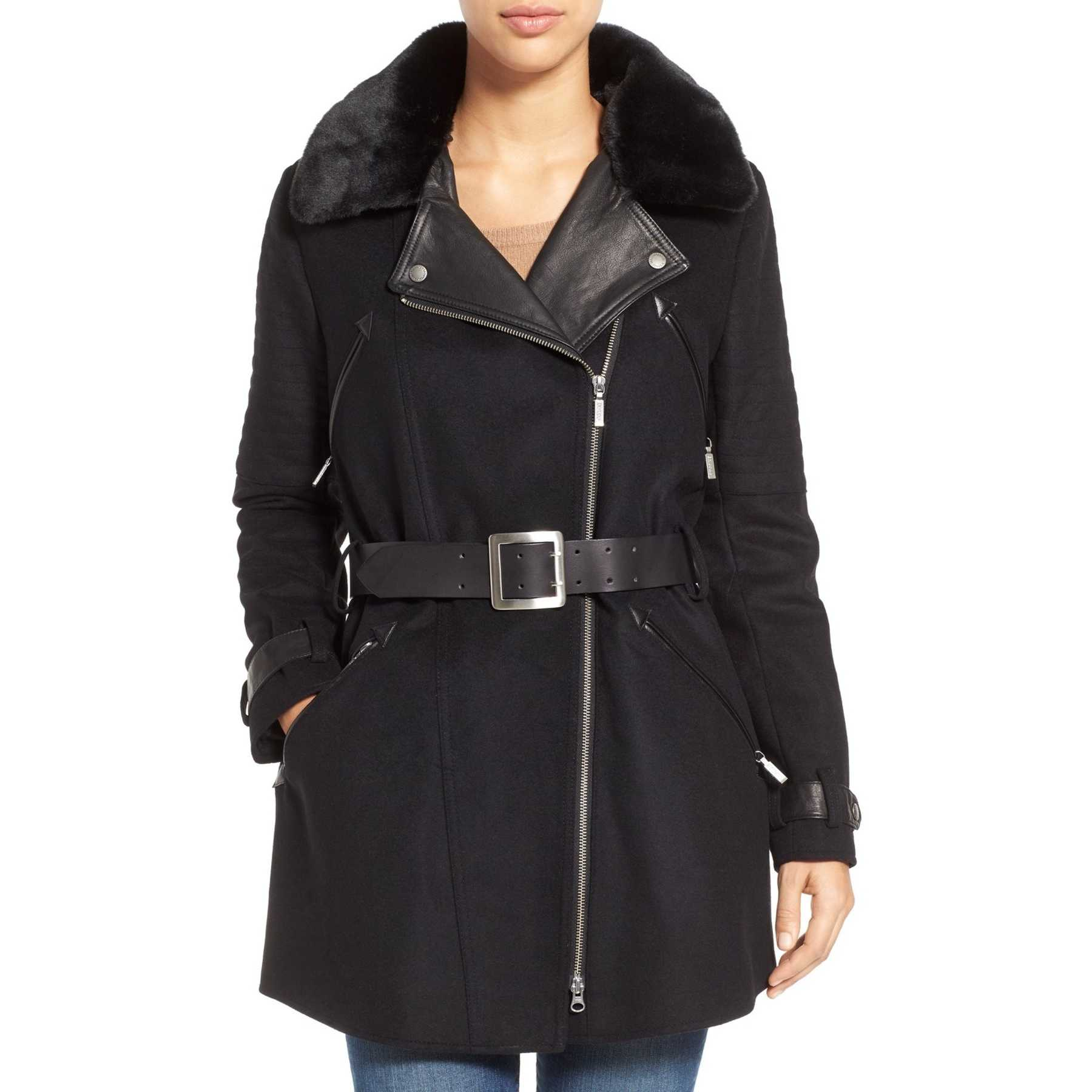 Barbour 'Valve' Wool Blend Trench Coat with Faux Fur Collar BLACK trench femei