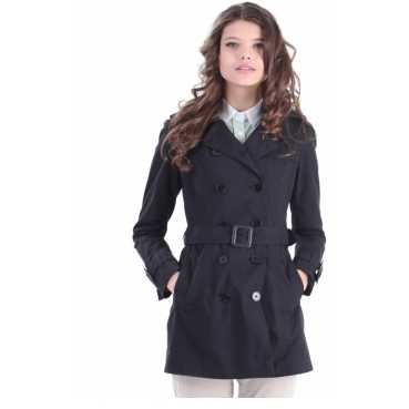 Trench negru cordon trench dama
