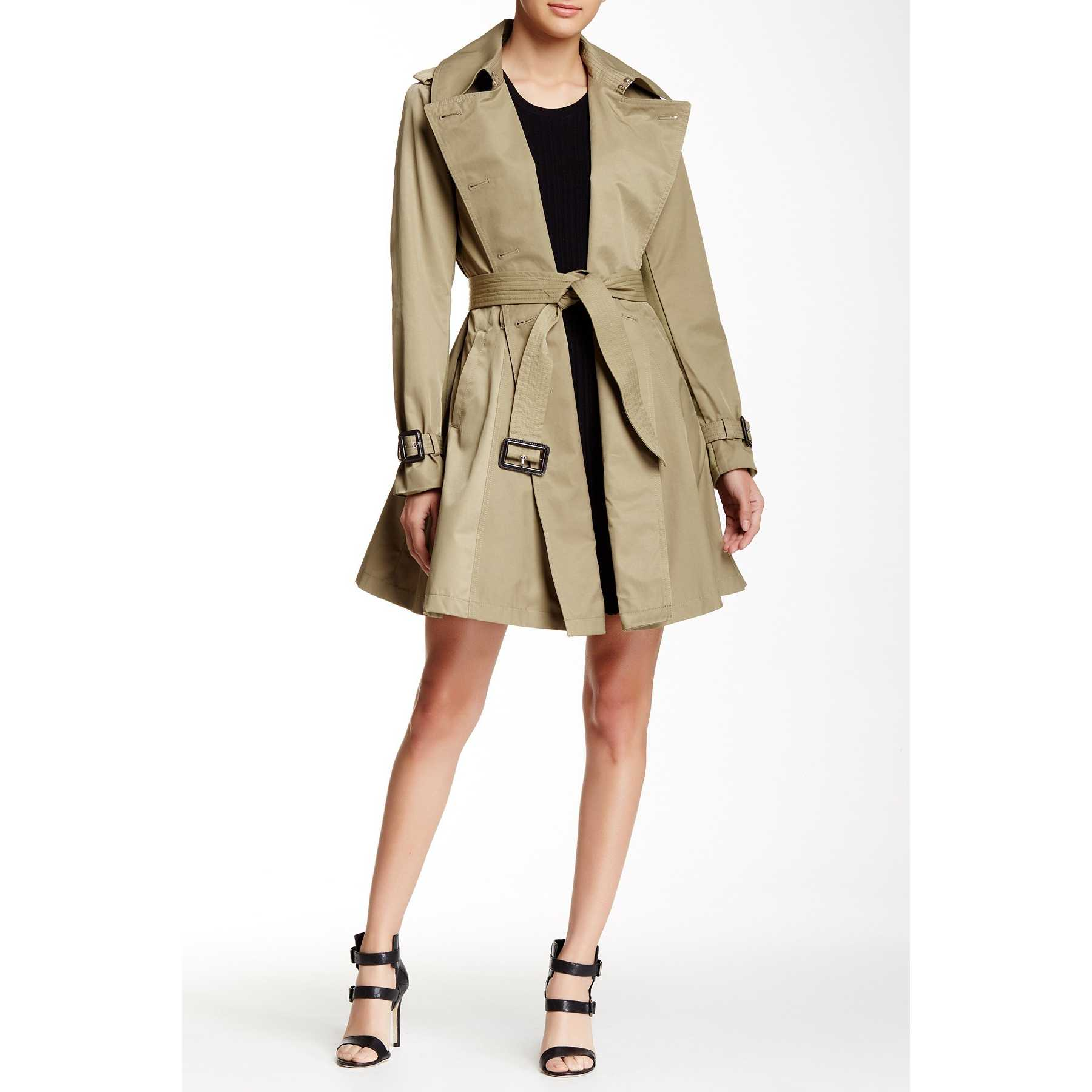 BCBGeneration Long Double Breasted Trench Coat GREEN TEA trench femei