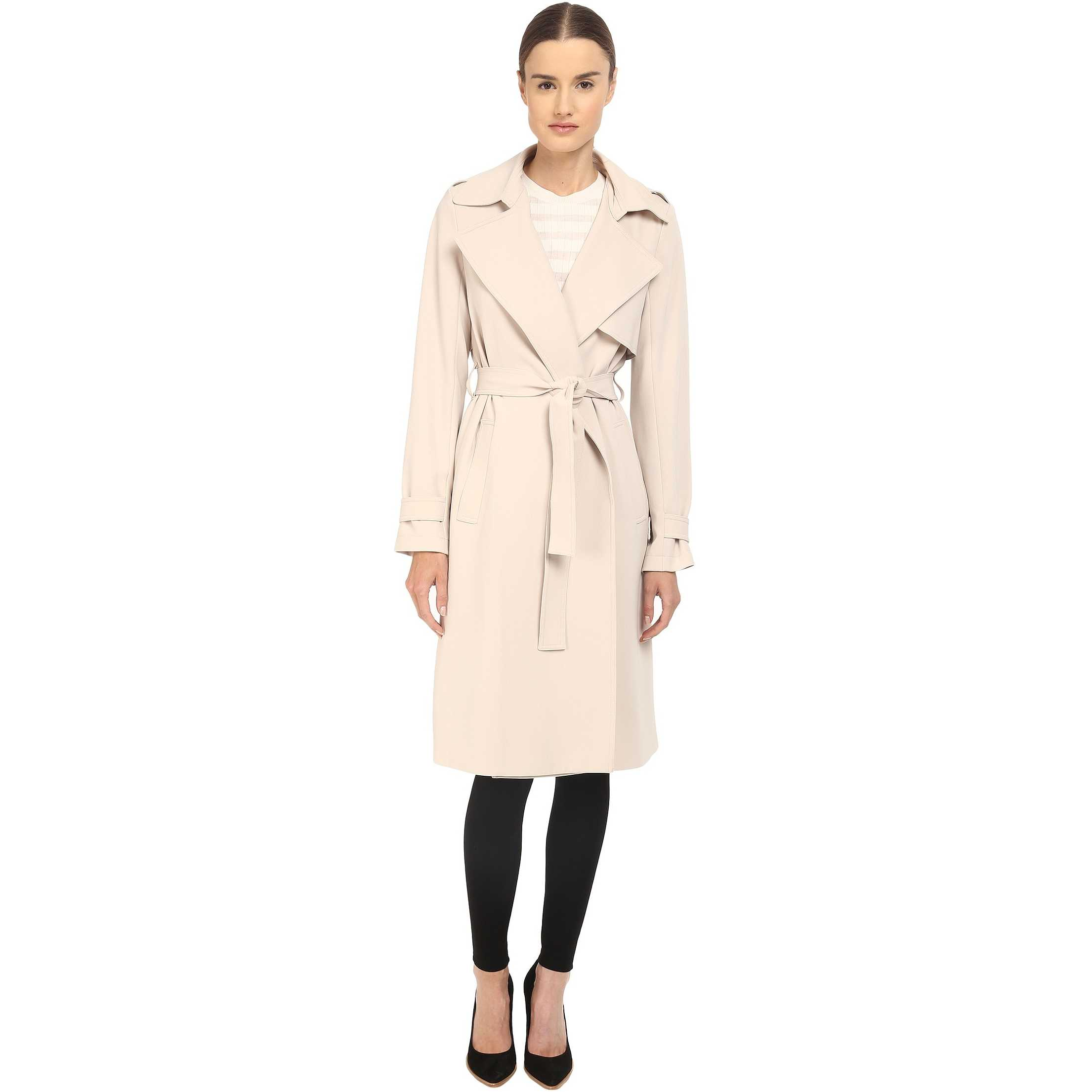 Theory Admiral Crepe Oaklane Trench Classic Khaki trench dama