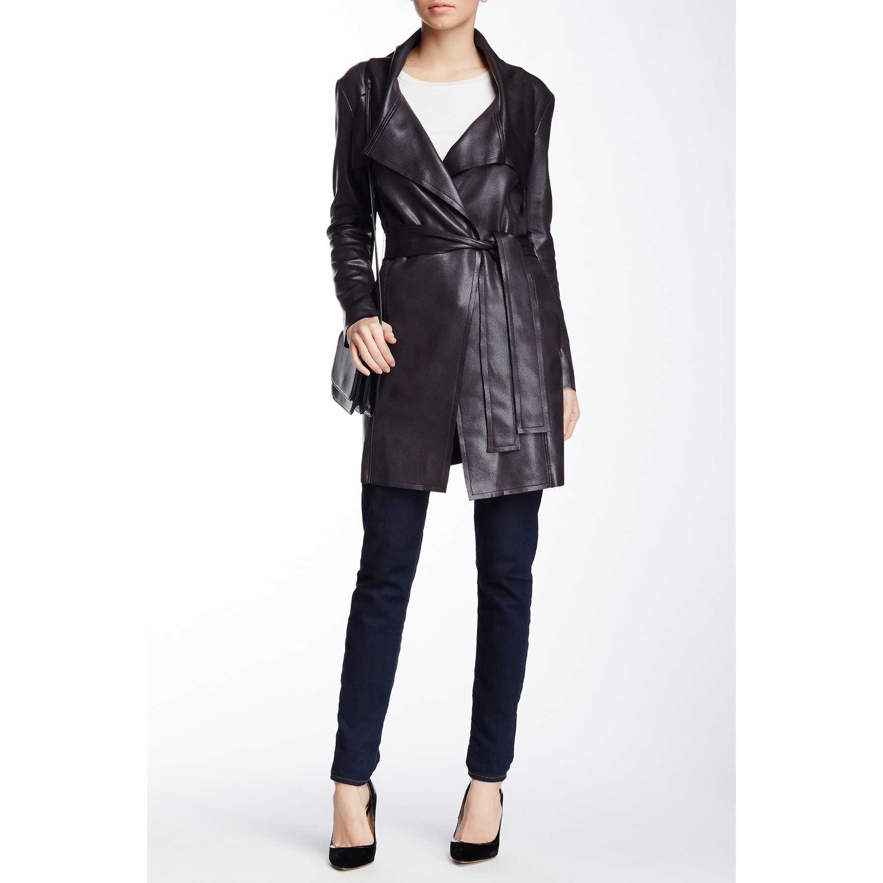 Insight Cracked Faux Suede Trench Coat Black trench femei