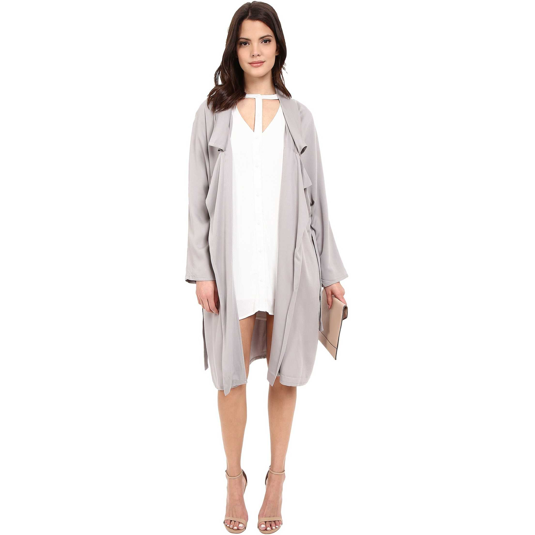 Jack by BB Dakota Martha Draped Rayon Twill Longline Trench Coat Strorm Grey trench femei