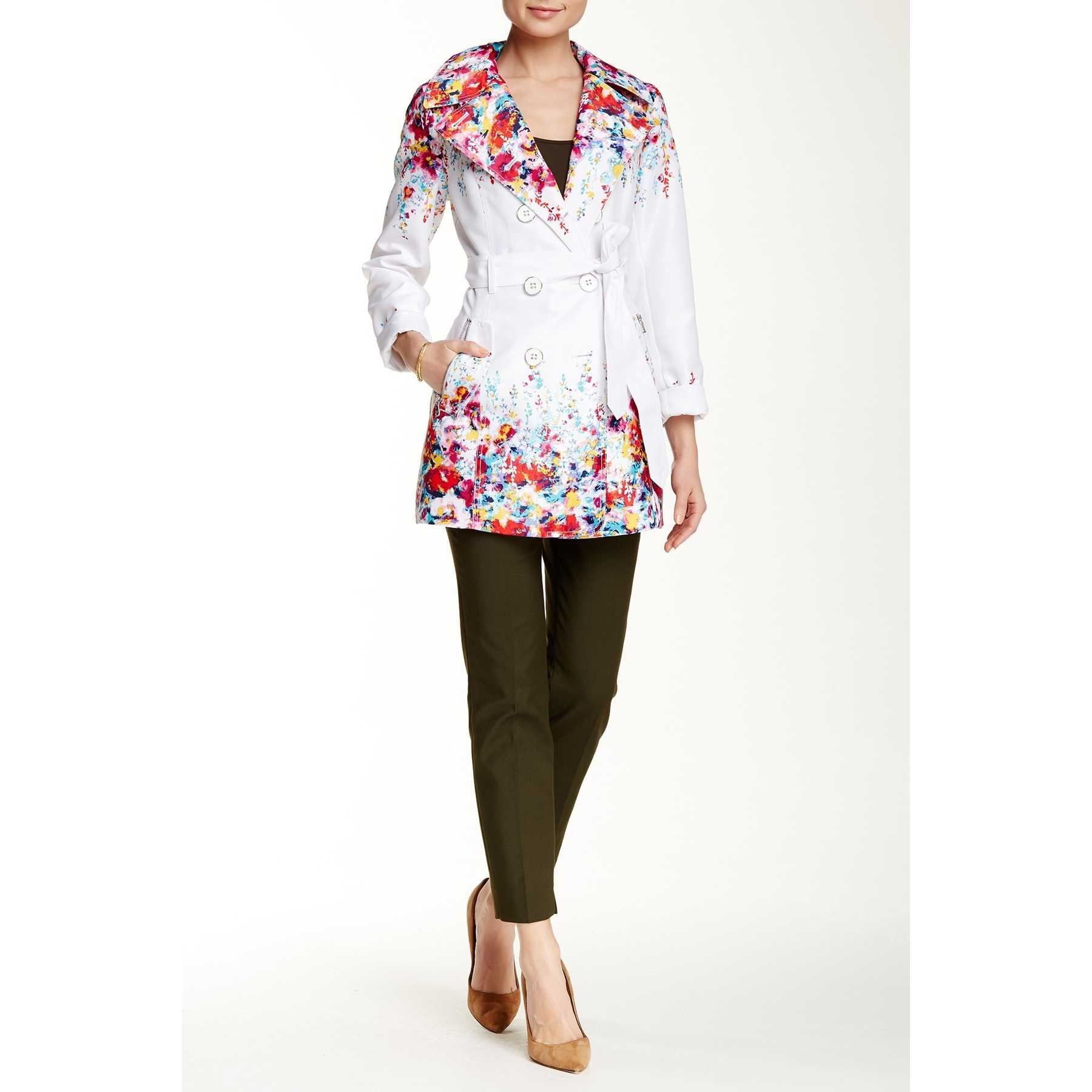 Jessica Simpson Floral Trench Coat MULTI trench femei