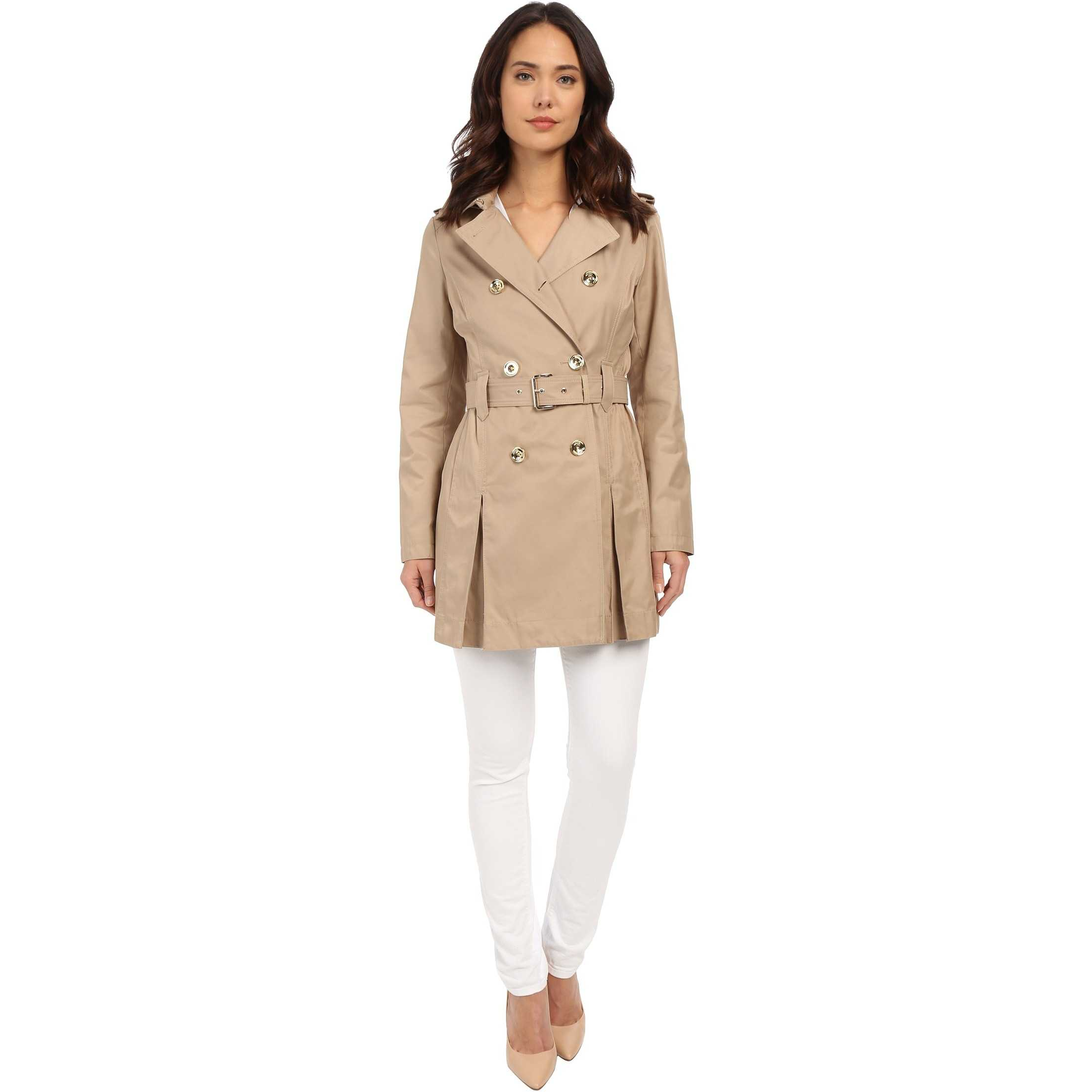 MICHAEL Michael Kors Double Breasted Belted Trench M722032R British Khaki trench femei