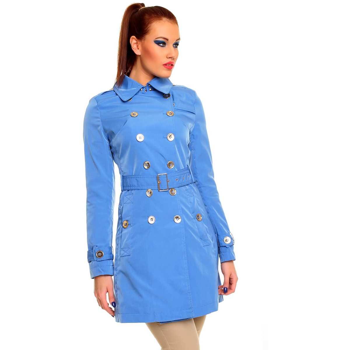 Trenci albastru din tercot, modern, cu nasturi si curea trench dama