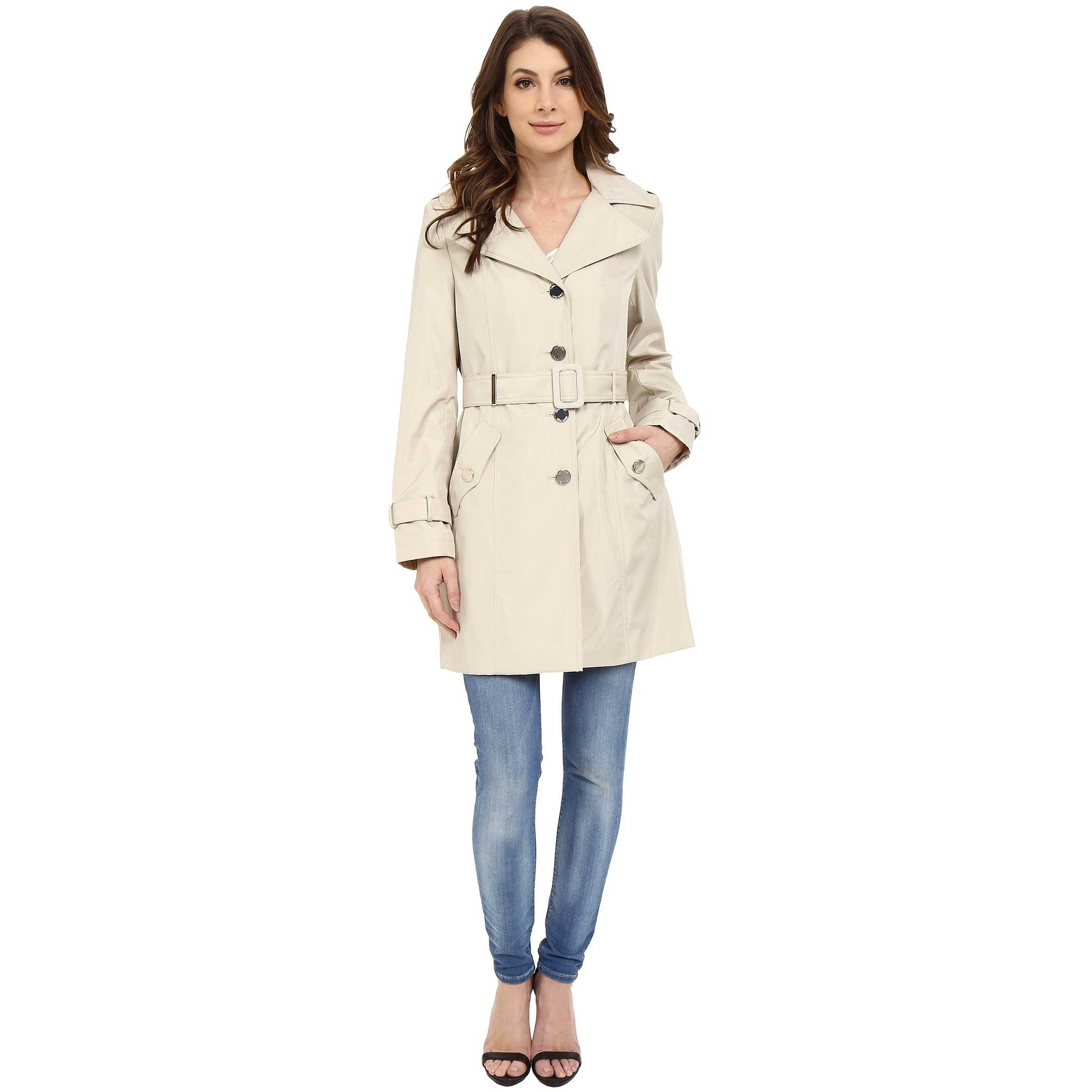 Calvin Klein Single Breasted Hooded Belted Trench w/ Printed Liner Buff trench femei