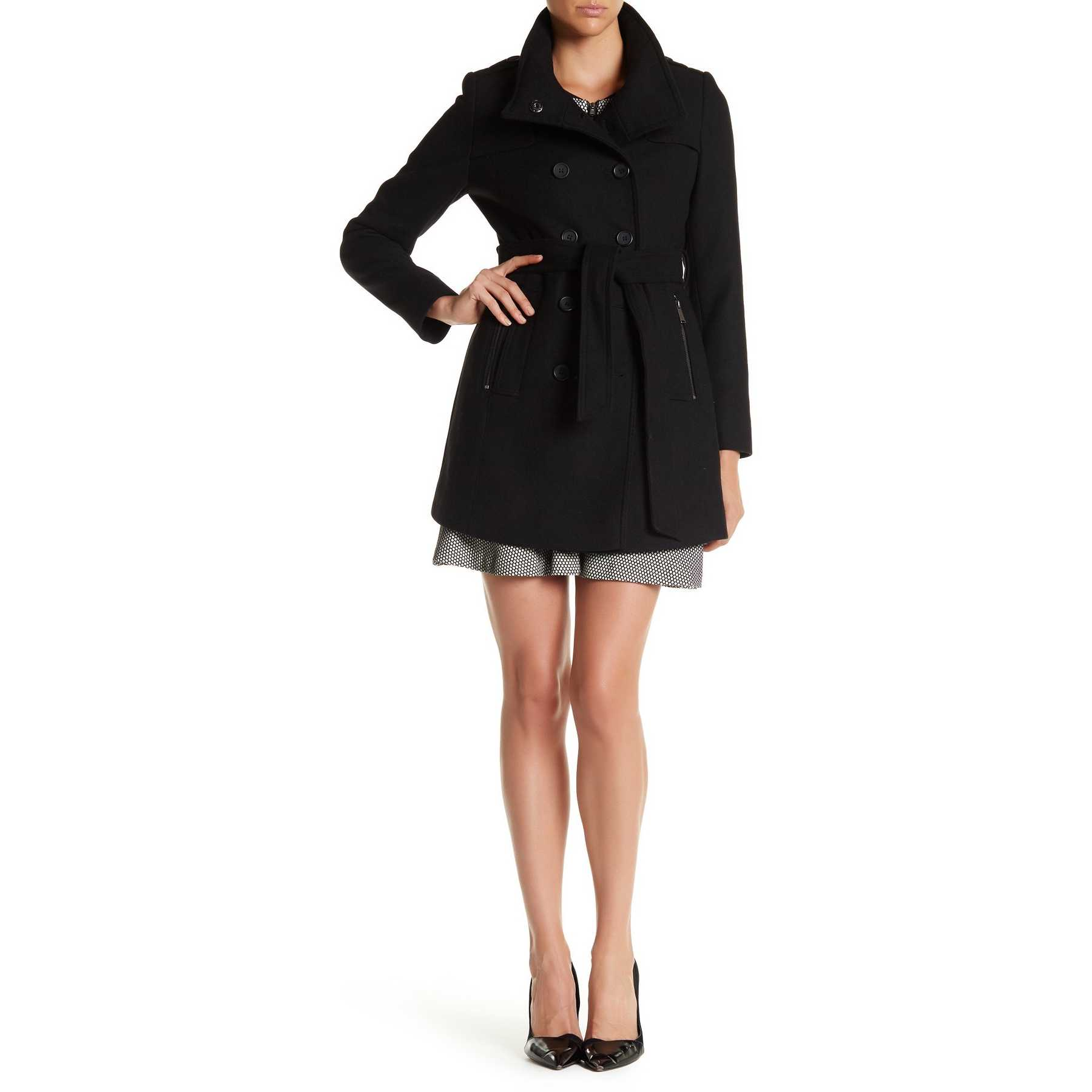 DKNY Double Breasted Stand Collar Wool Blend Trench Coat BLACK trench dama