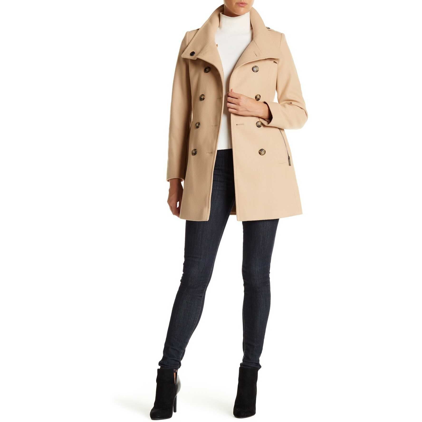 DKNY Double Breasted Stand Collar Wool Blend Trench Coat HONEY BEIG trench femei
