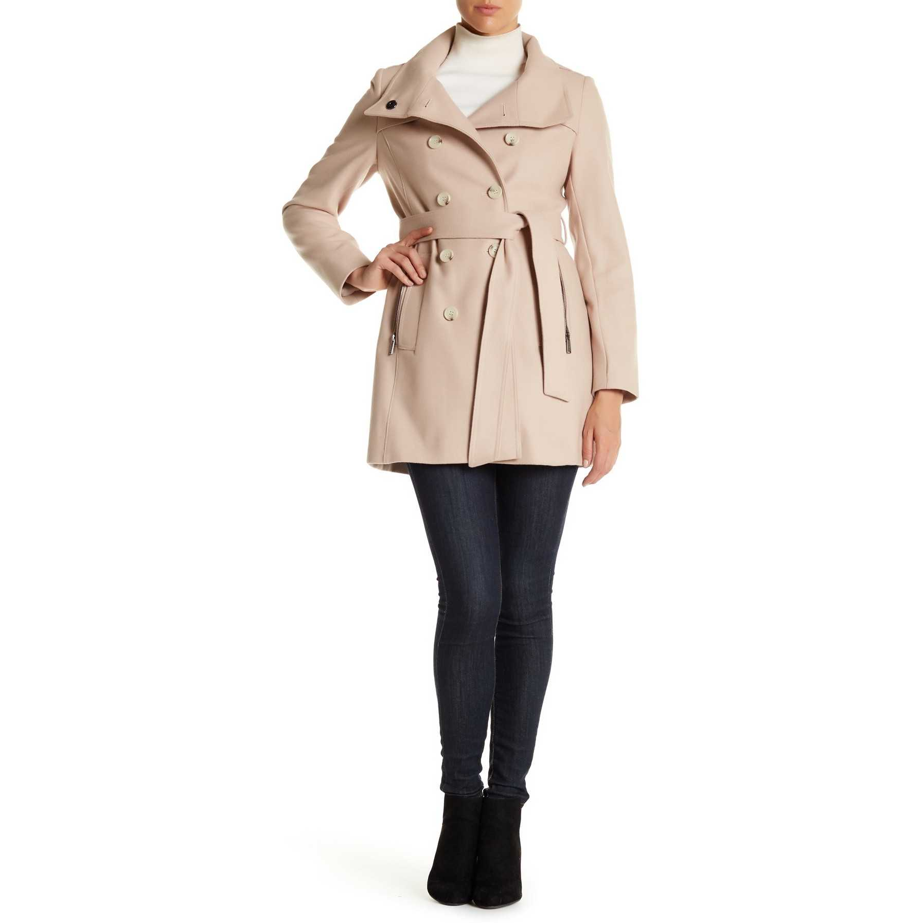 DKNY Double Breasted Stand Collar Wool Blend Trench Coat PEARL BEIG trench dama