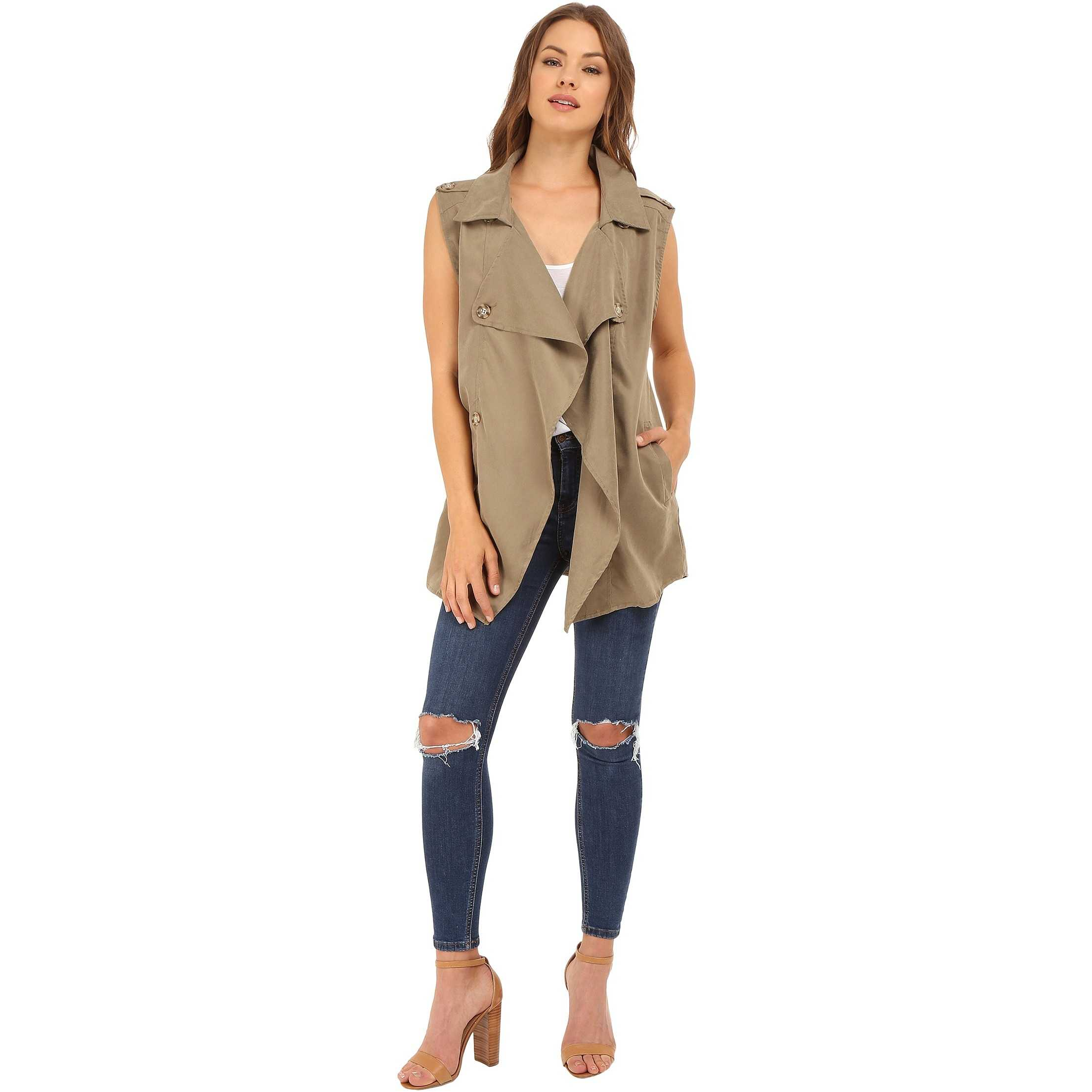 Brigitte Bailey Isabelle Trench-Style Vest Olive trench dama