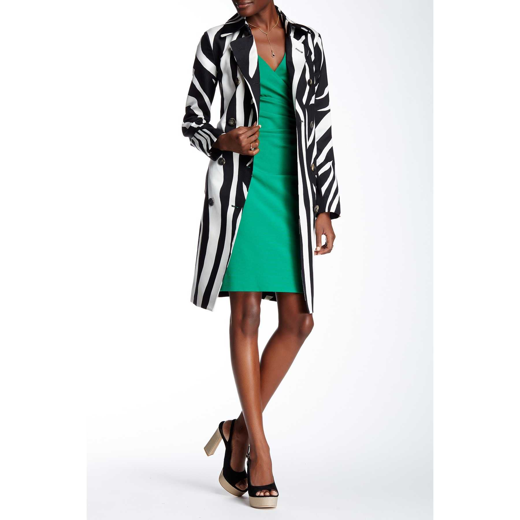 Diane von Furstenberg Libby Wool Blend Print Trench Coat ZEBRA SIMPLE BLACK trench dama