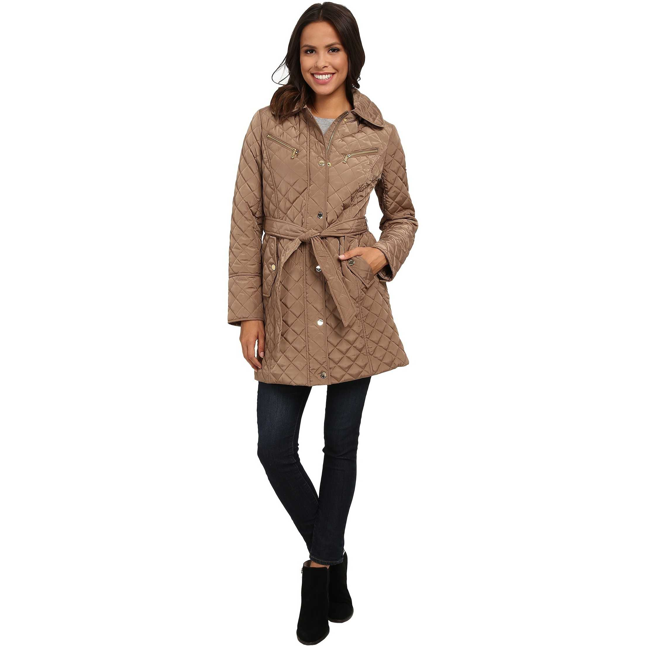 MICHAEL Michael Kors Quilt Single-Breasted Belted Trench Truffle trench femei