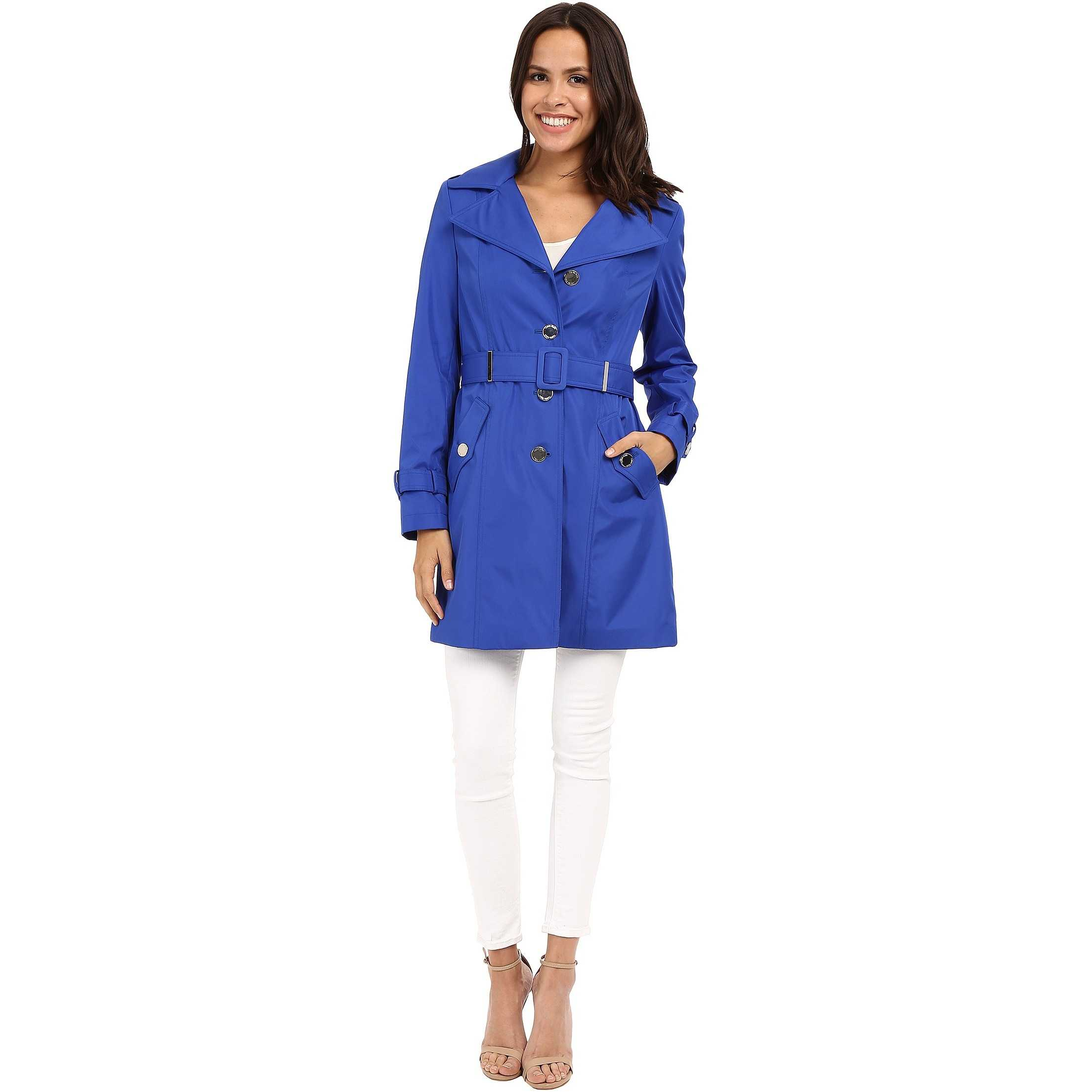 Calvin Klein Single Breasted Hooded Belted Trench w/ Printed Liner Royal Blue trench femei