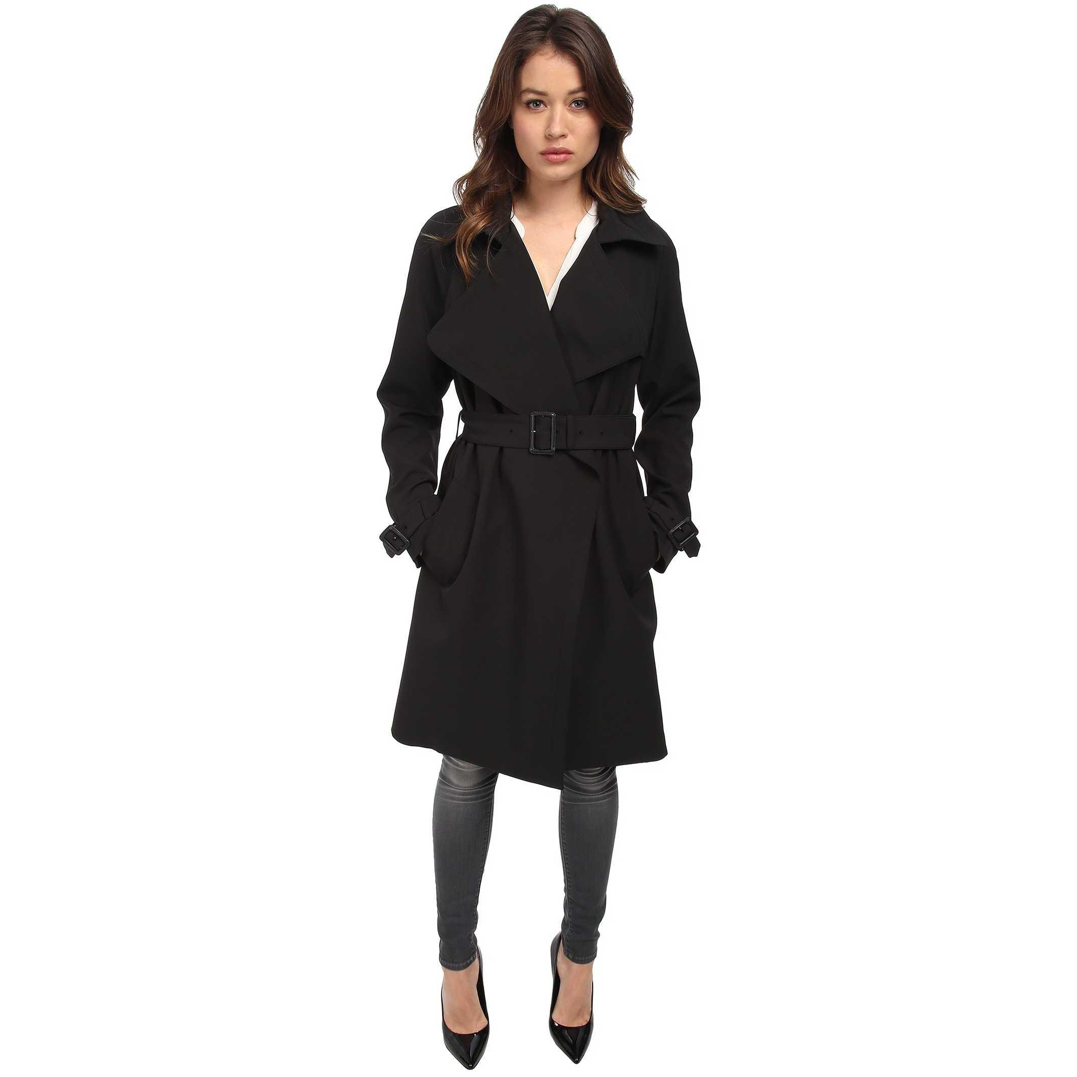 Diane von Furstenberg Anouk Trench Coat Black trench femei