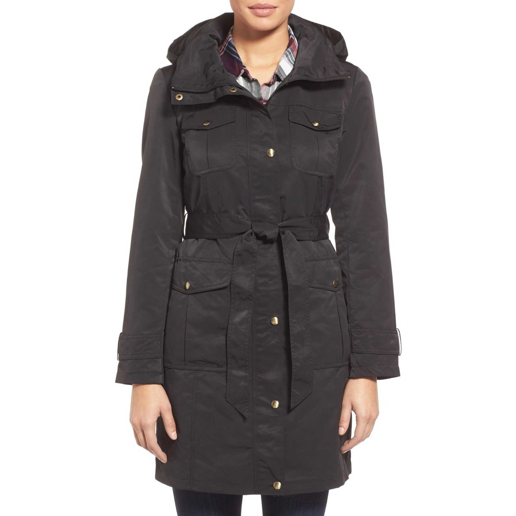 Ellen Tracy Belted Utility Trench Coat BLACK trench femei
