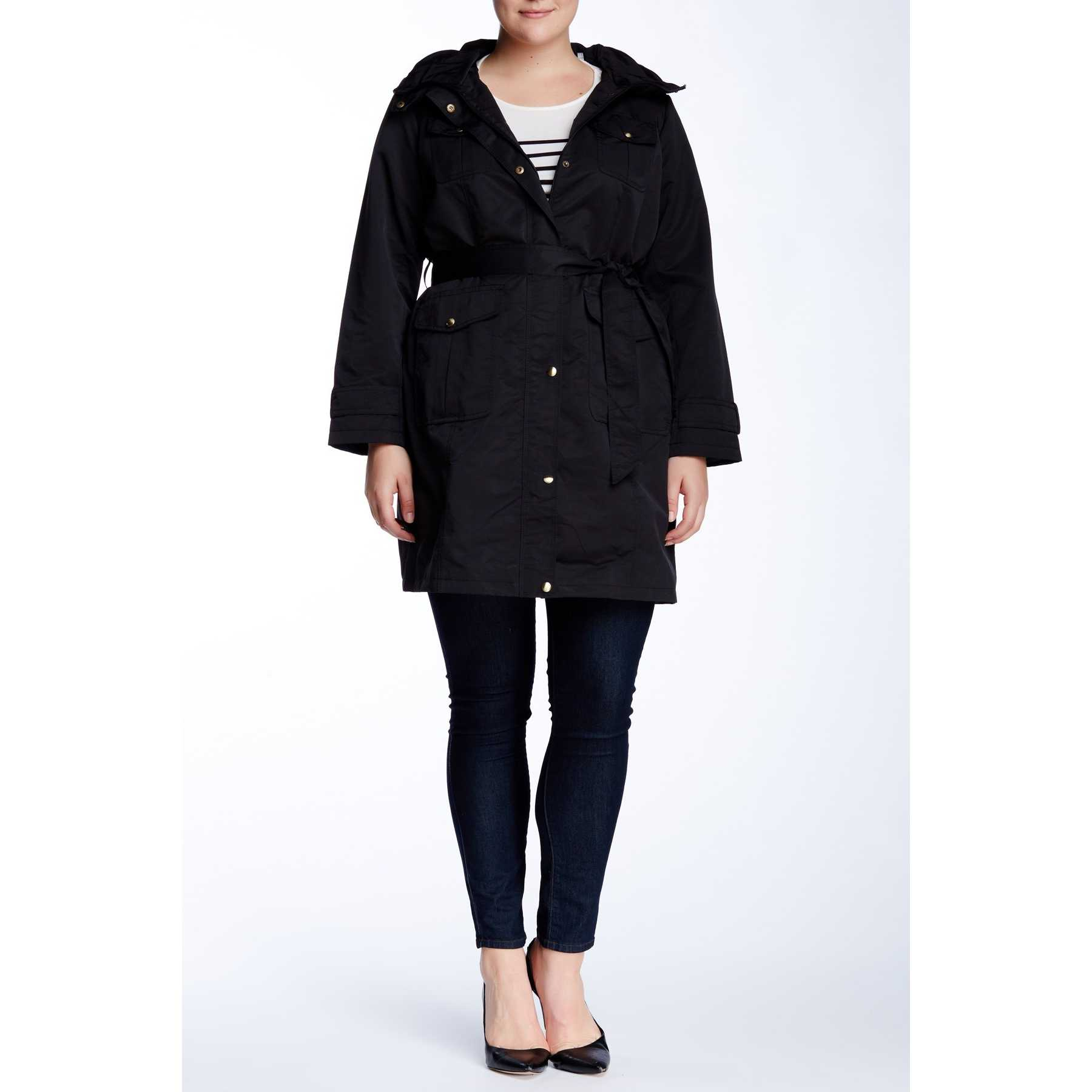 Ellen Tracy Belted Utility Trench Jacket (Plus Size) BLACK trench dama