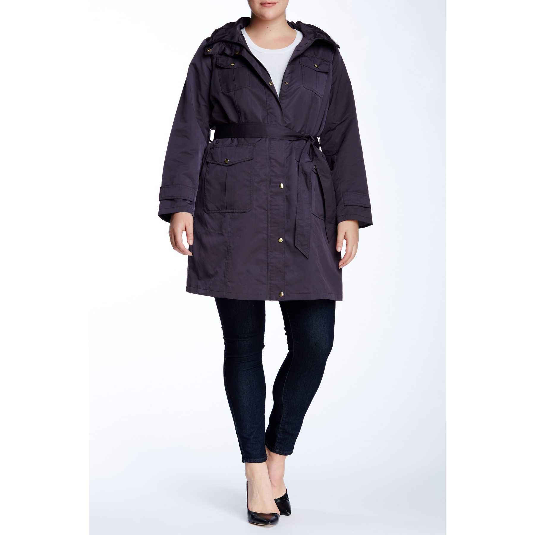Ellen Tracy Belted Utility Trench Jacket (Plus Size) GRAPHITE trench dama