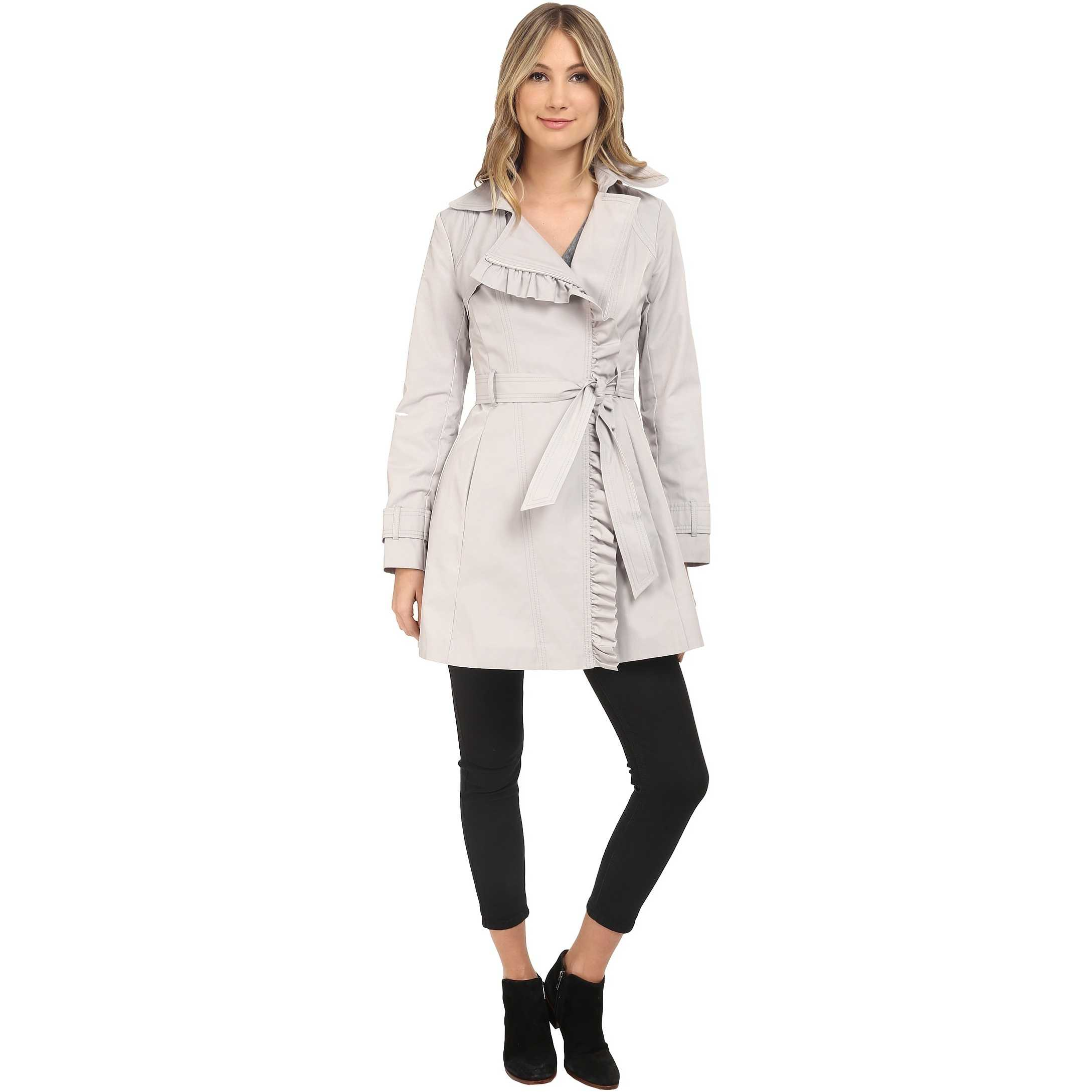 Jessica Simpson Belted Ruffle Trench Silver trench femei