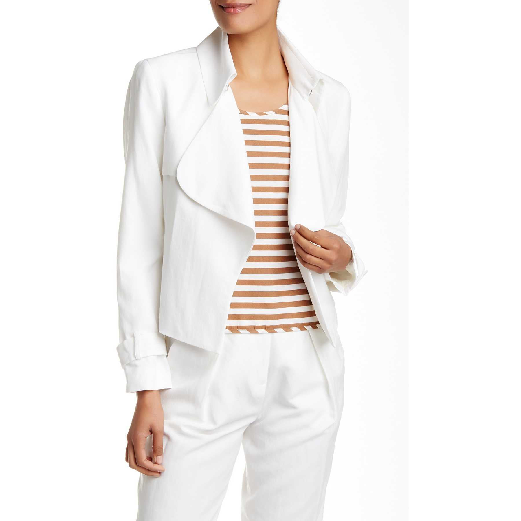 Anne Klein Ruffle Hook Trench White trench femei