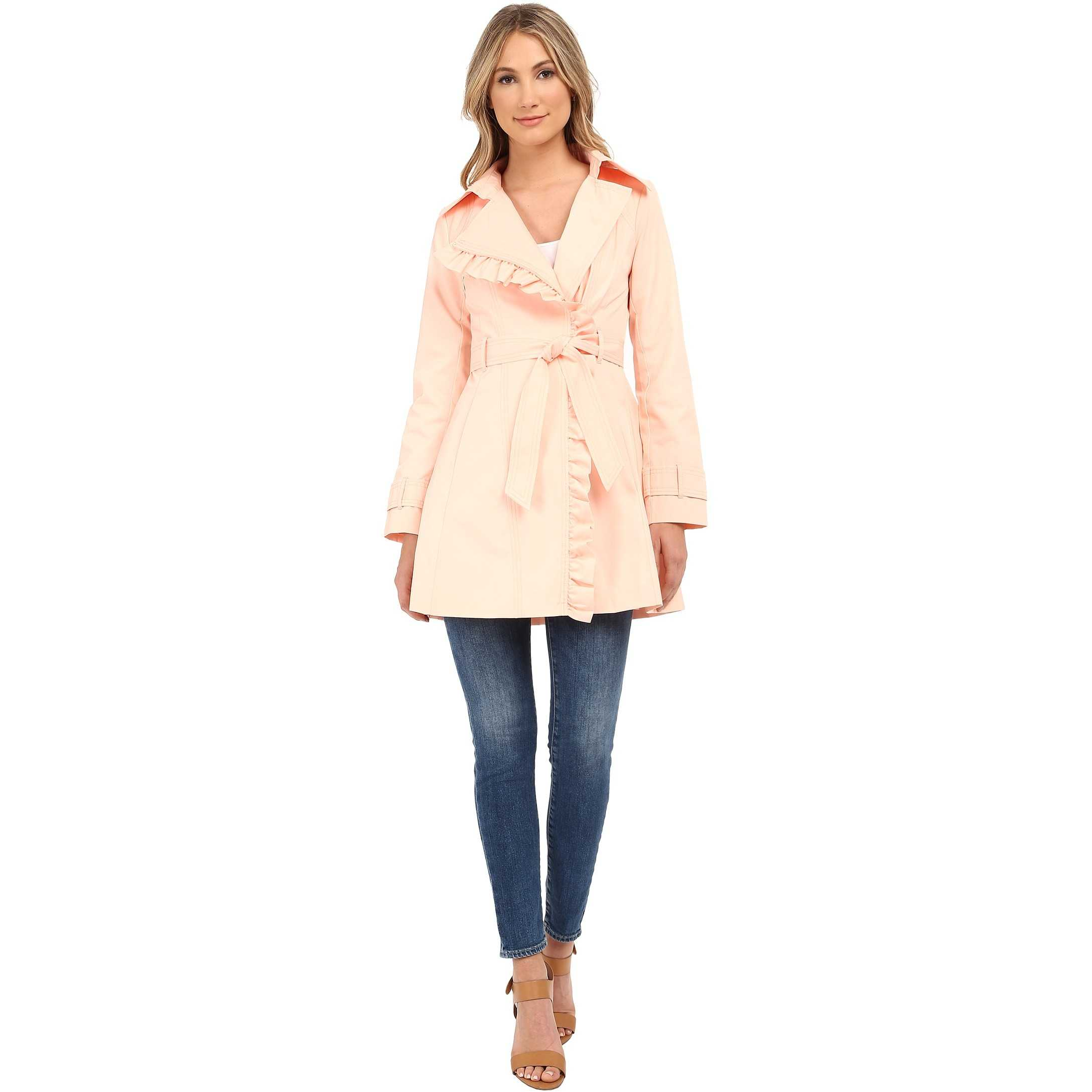 Jessica Simpson Belted Ruffle Trench Blush trench femei