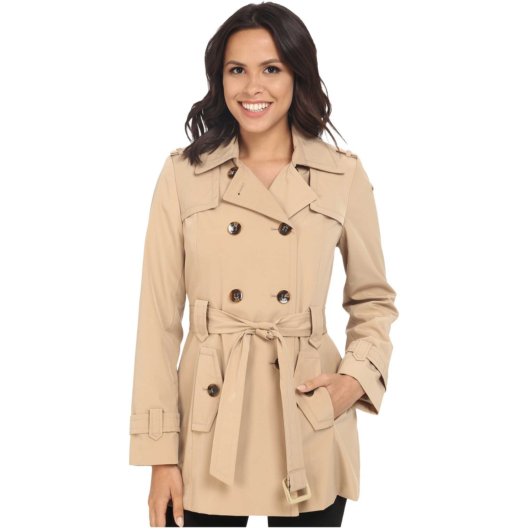 Calvin Klein Double Breasted Belted Trench w/ Gunflaps Khaki trench femei