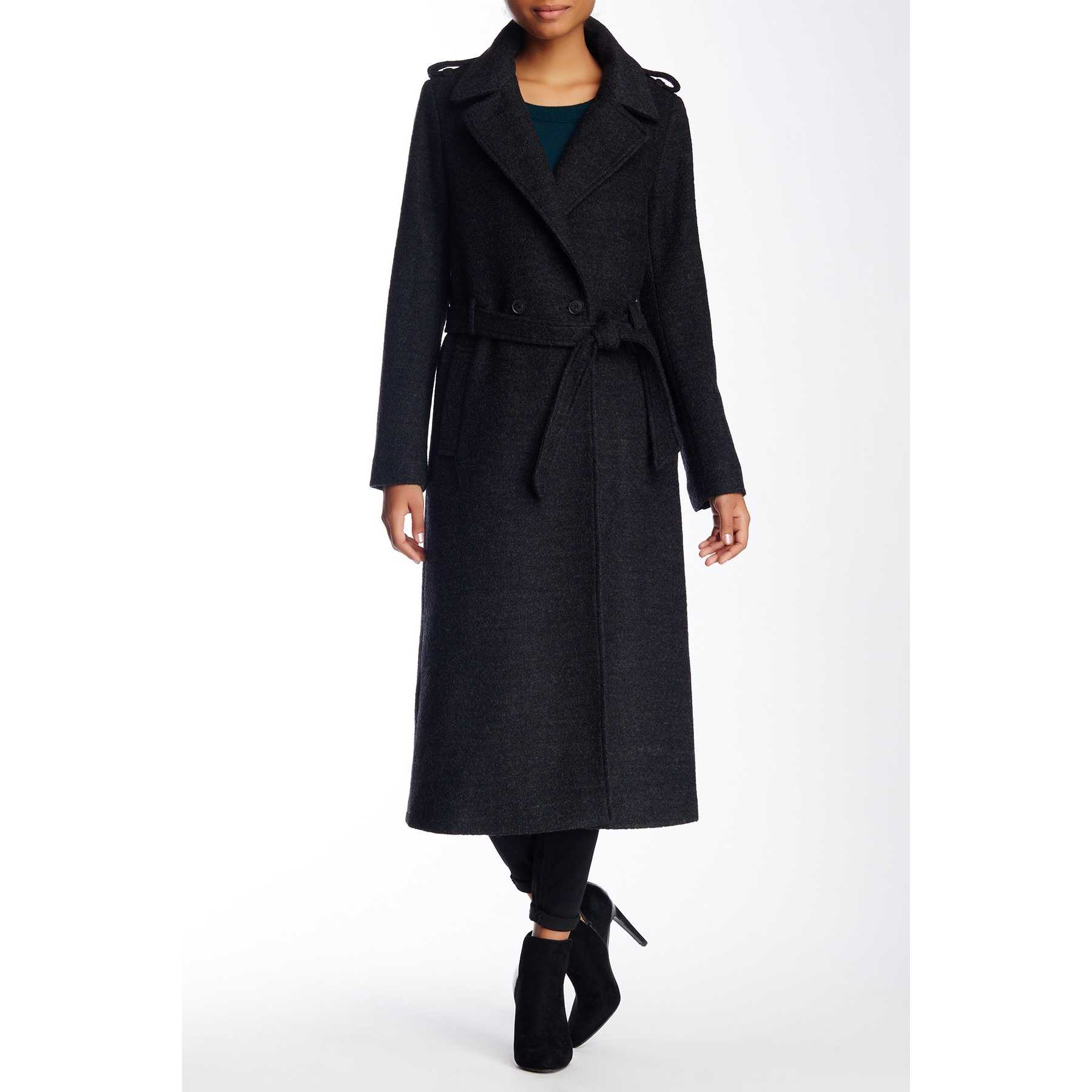 Soia Kyo Wool Blend Double Breasted Relaxed Trench CHARCOAL trench dama