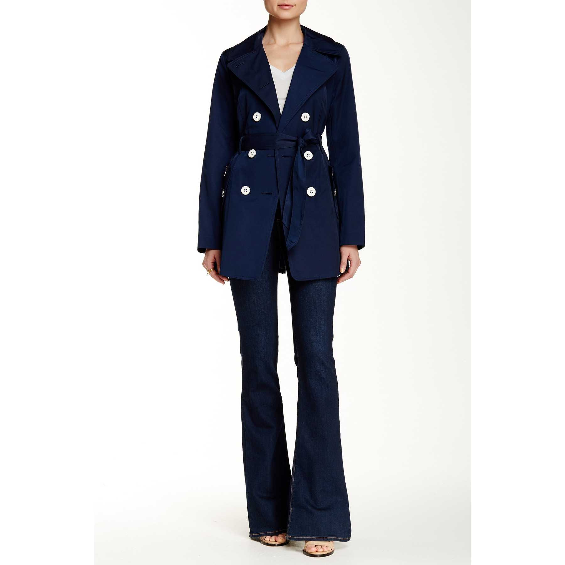 Jessica Simpson Double Breasted Trench Coat NAVY trench dama