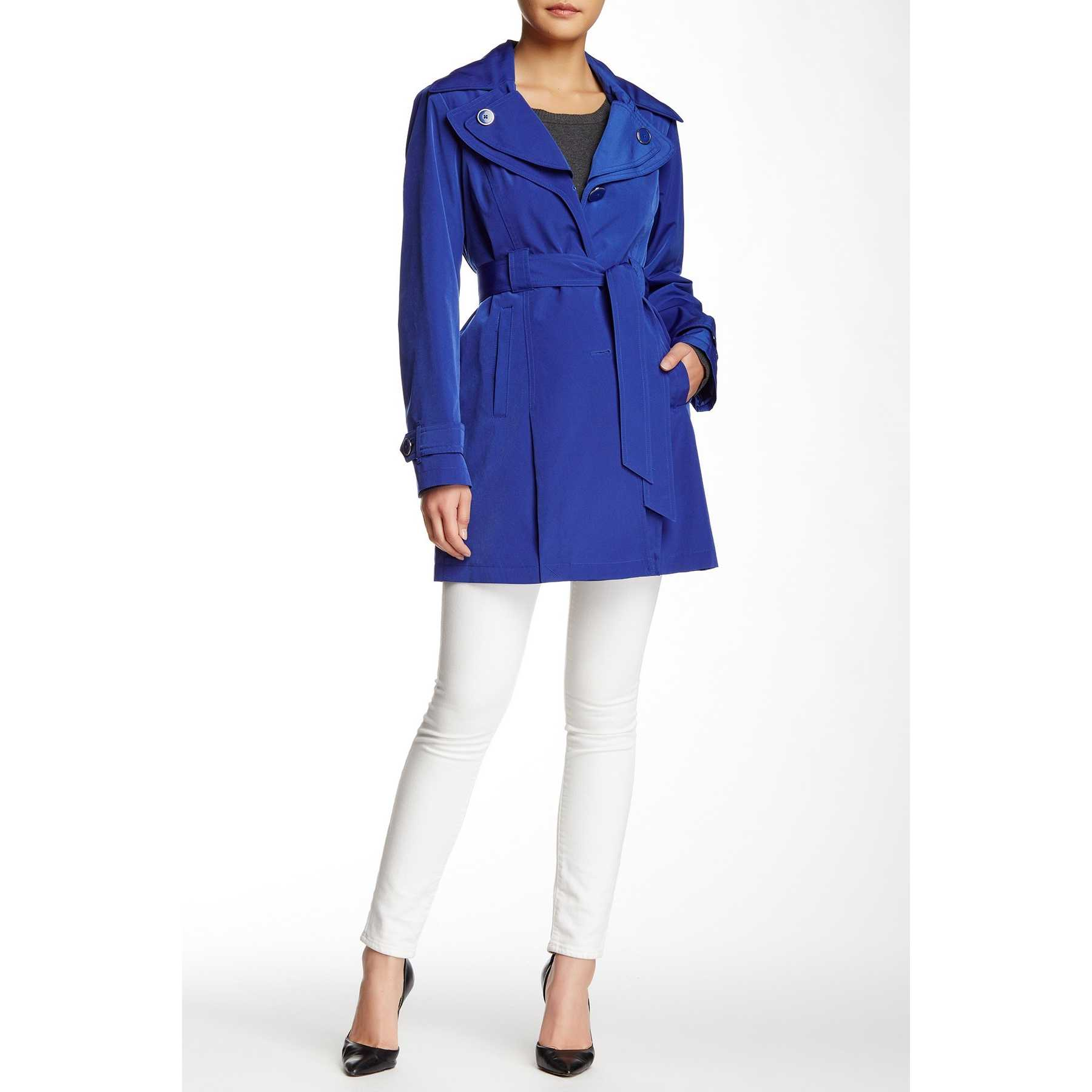 London Fog Water Repellent Double Collar Hooded Trench Coat BLUEBELL trench dama