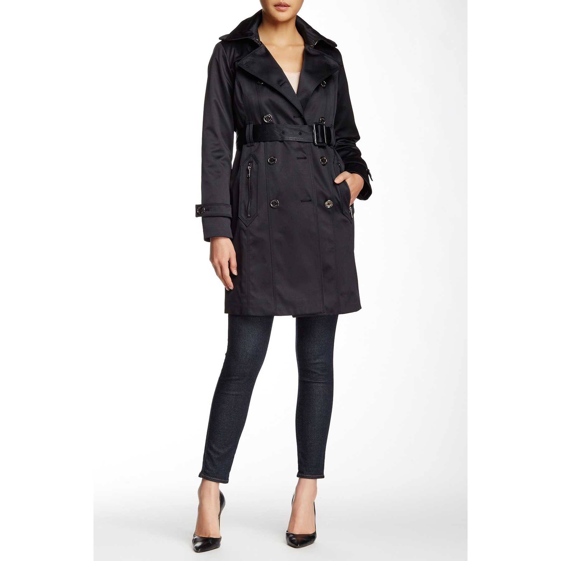 London Fog Water Repellent Double Breasted Trench Coat (Petite) BLACK trench dama