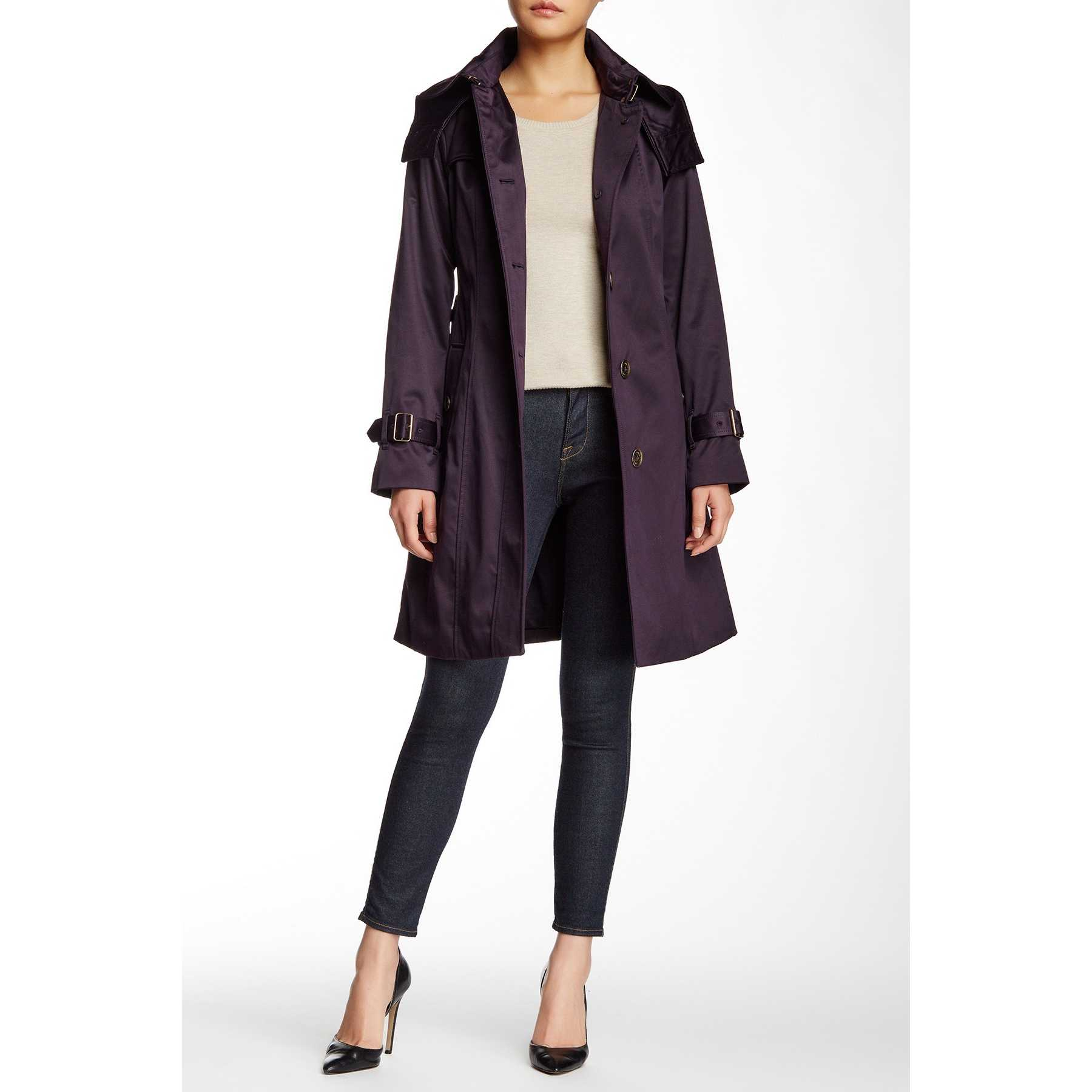 London Fog Water Repellent Hooded Trench Coat BLACKBERRY trench dama