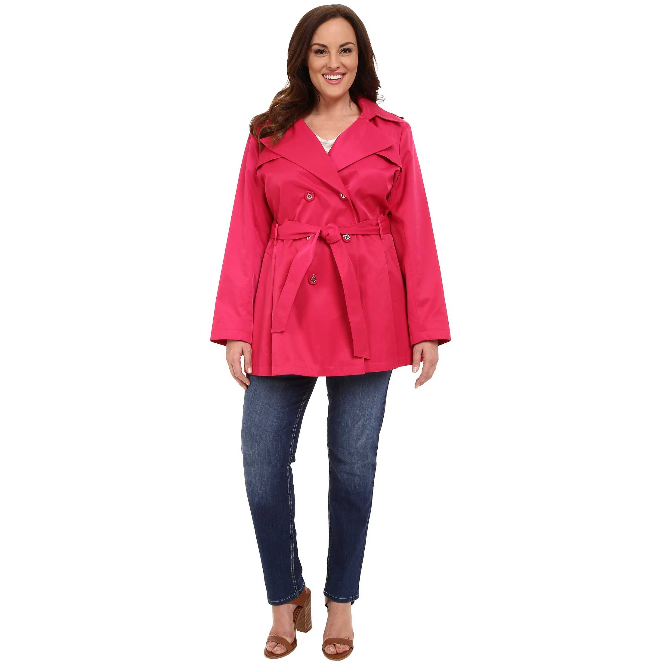 Via Spiga Plus Size Double Breasted Trench Coat Watermelon trench femei