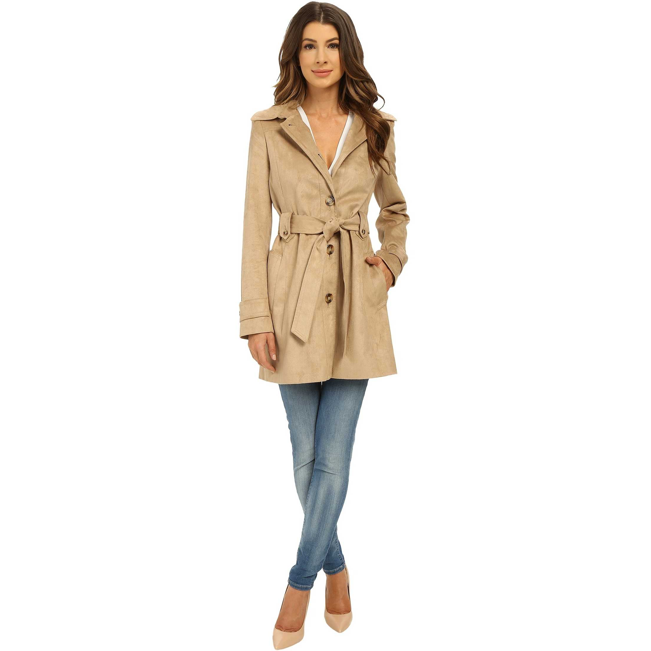 Via Spiga Suede Belted Trench Coat Sand trench femei