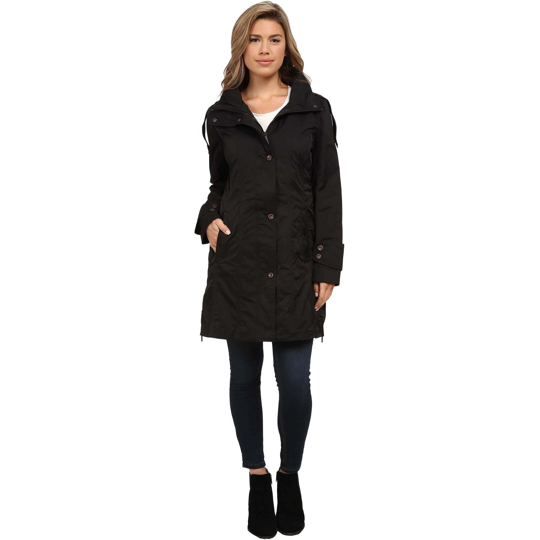 Rainforest Packable Modern Trench Black trench dama