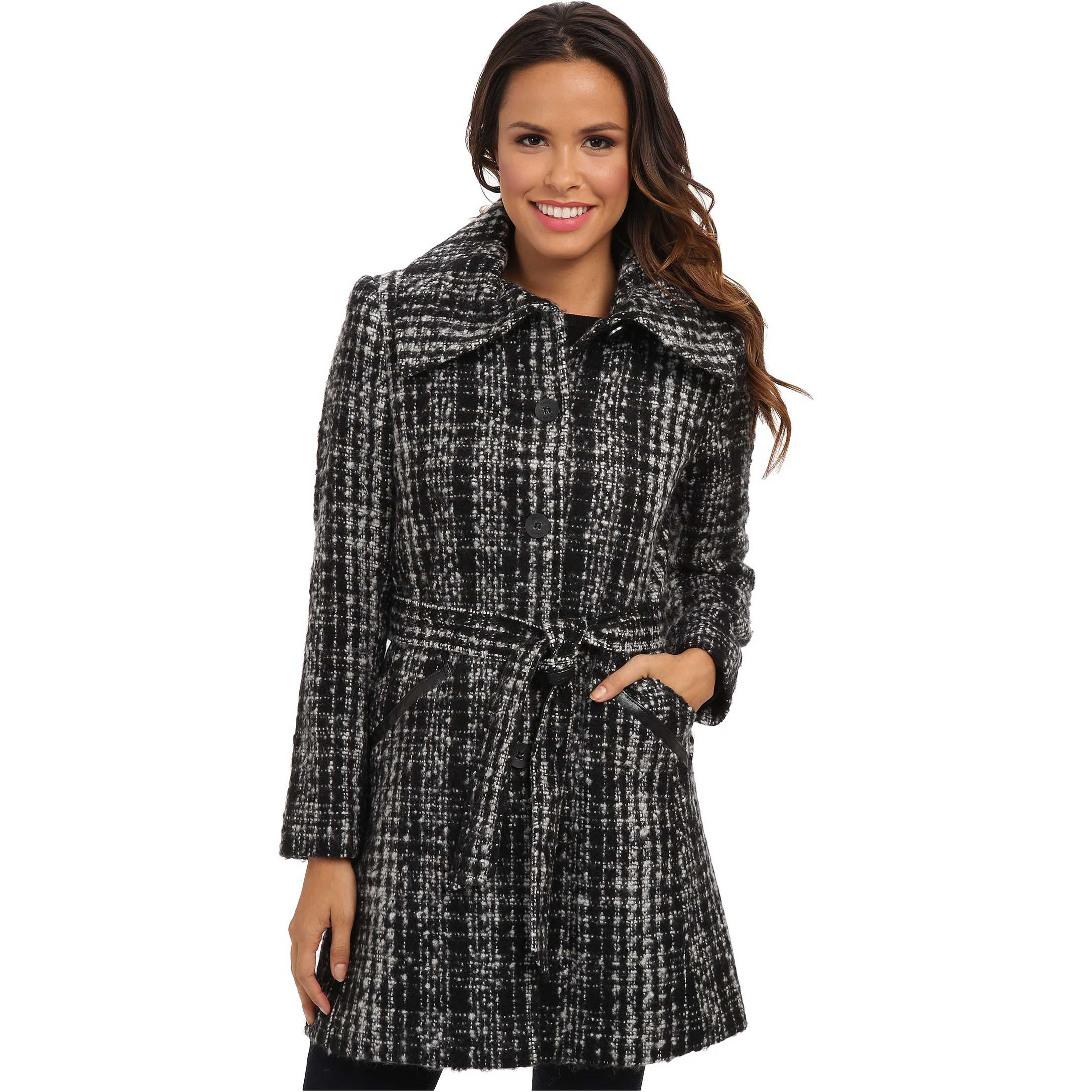 DKNY Novelty Tweed Trench 49212X-Y4 Black/White trench femei