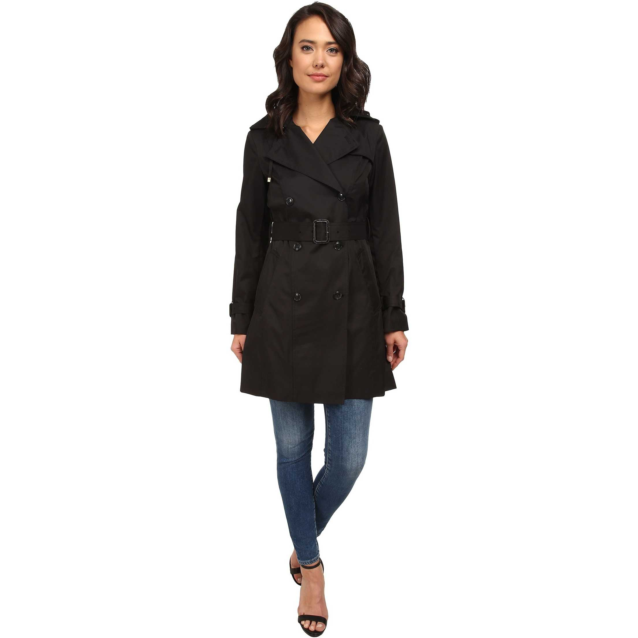 "Cole Haan 35 1/2"" Double Breasted Hooded Trench Black trench femei"