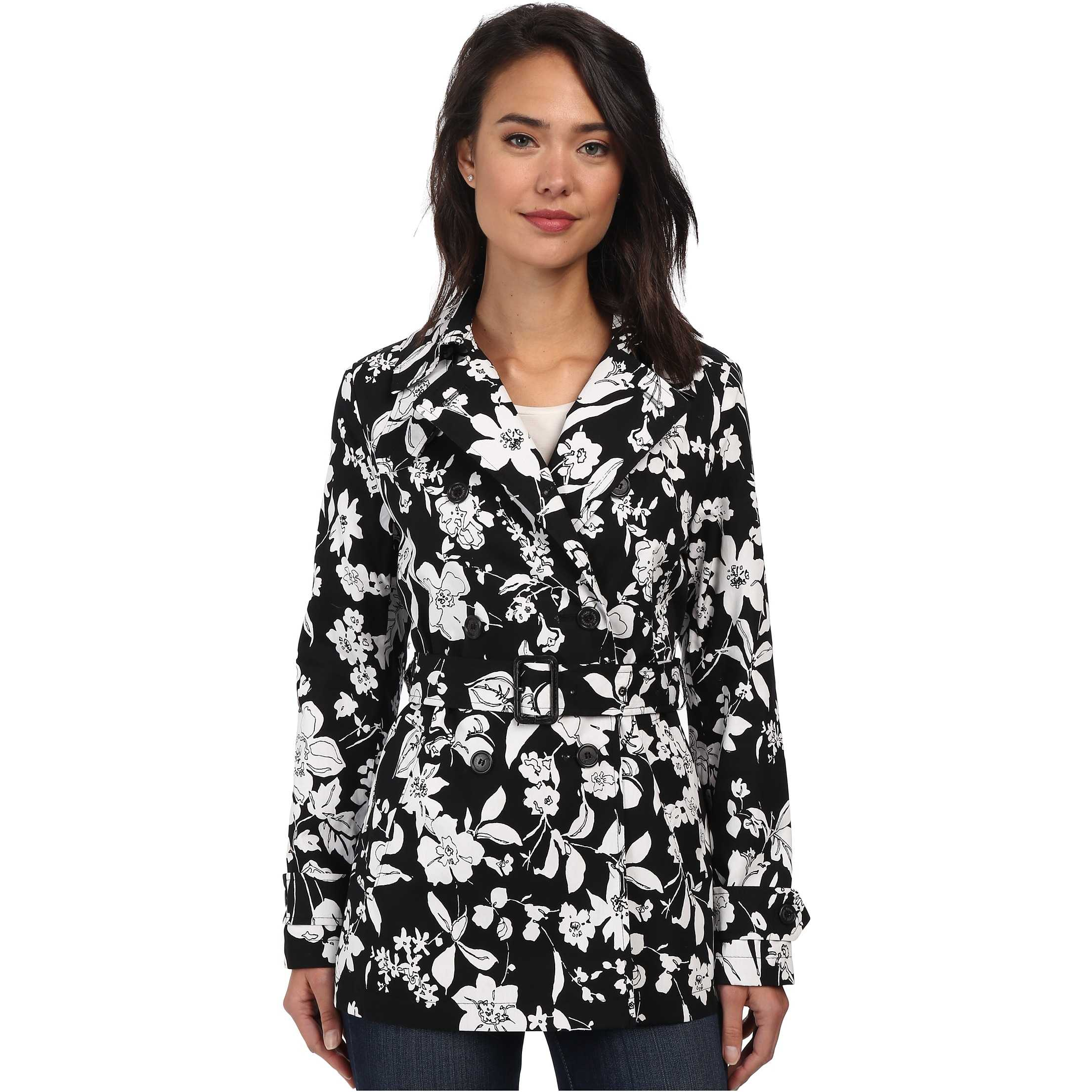 LAUREN Ralph Lauren Floral Trench Black/White trench femei