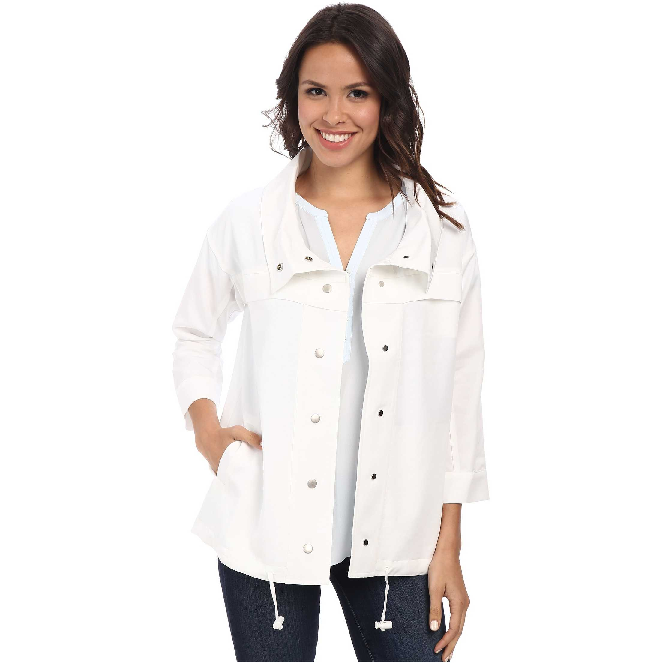 NYDJ Cropped Trench Coat Optic White trench femei