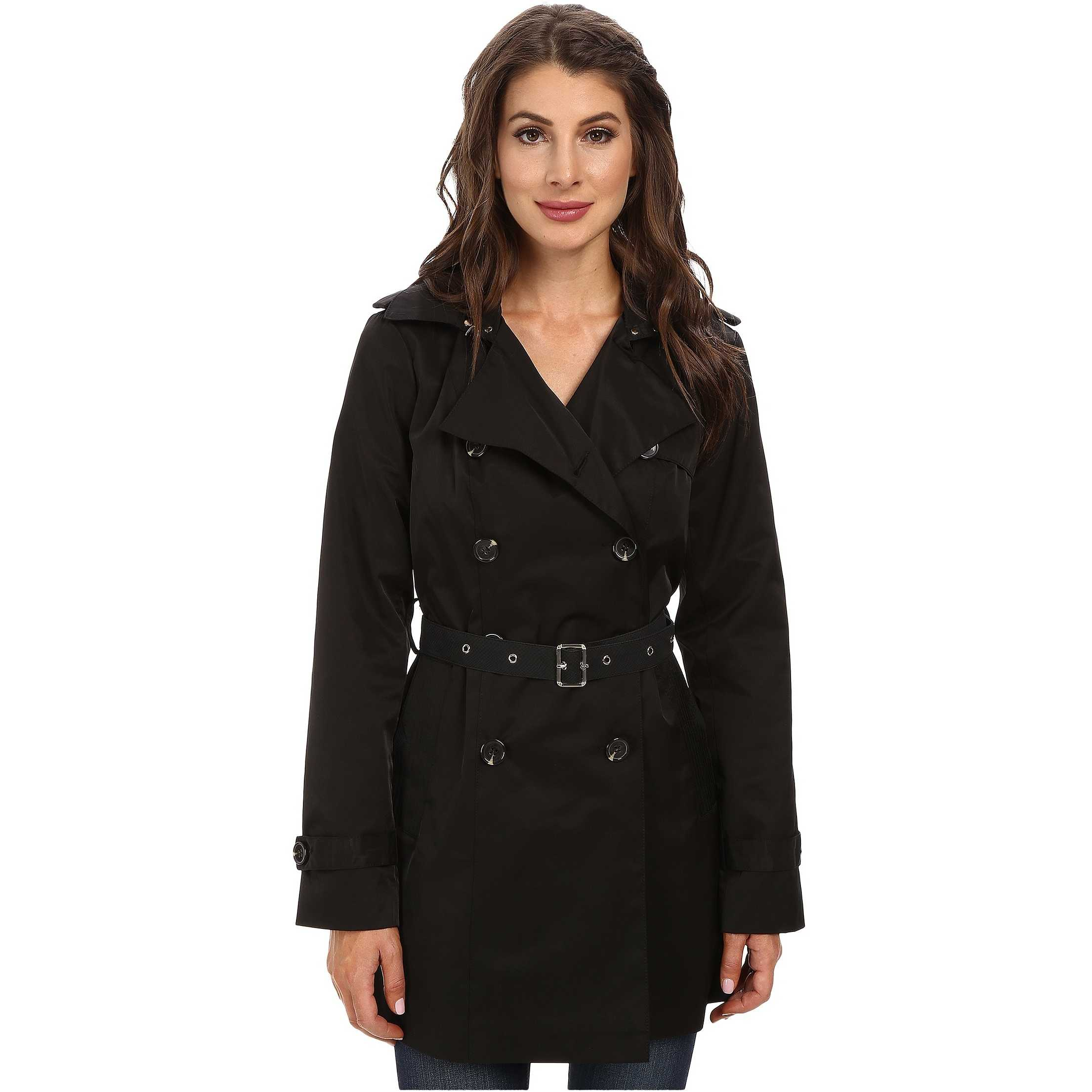 Sam Edelman Double Breasted Trench w/ Vegan Leather Trim Black trench femei