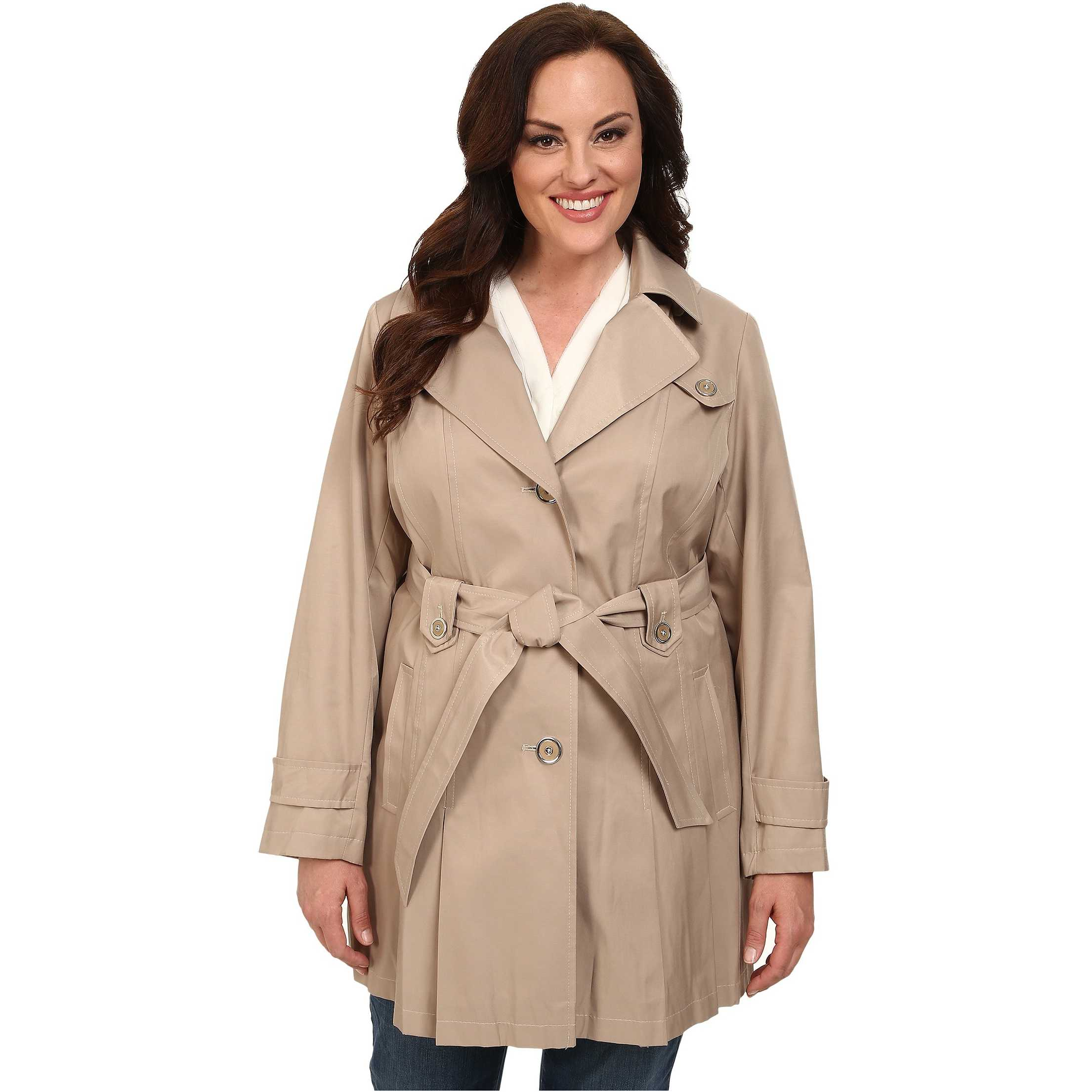 Via Spiga Plus Size Single-Breasted Hooded Trench Sand trench femei
