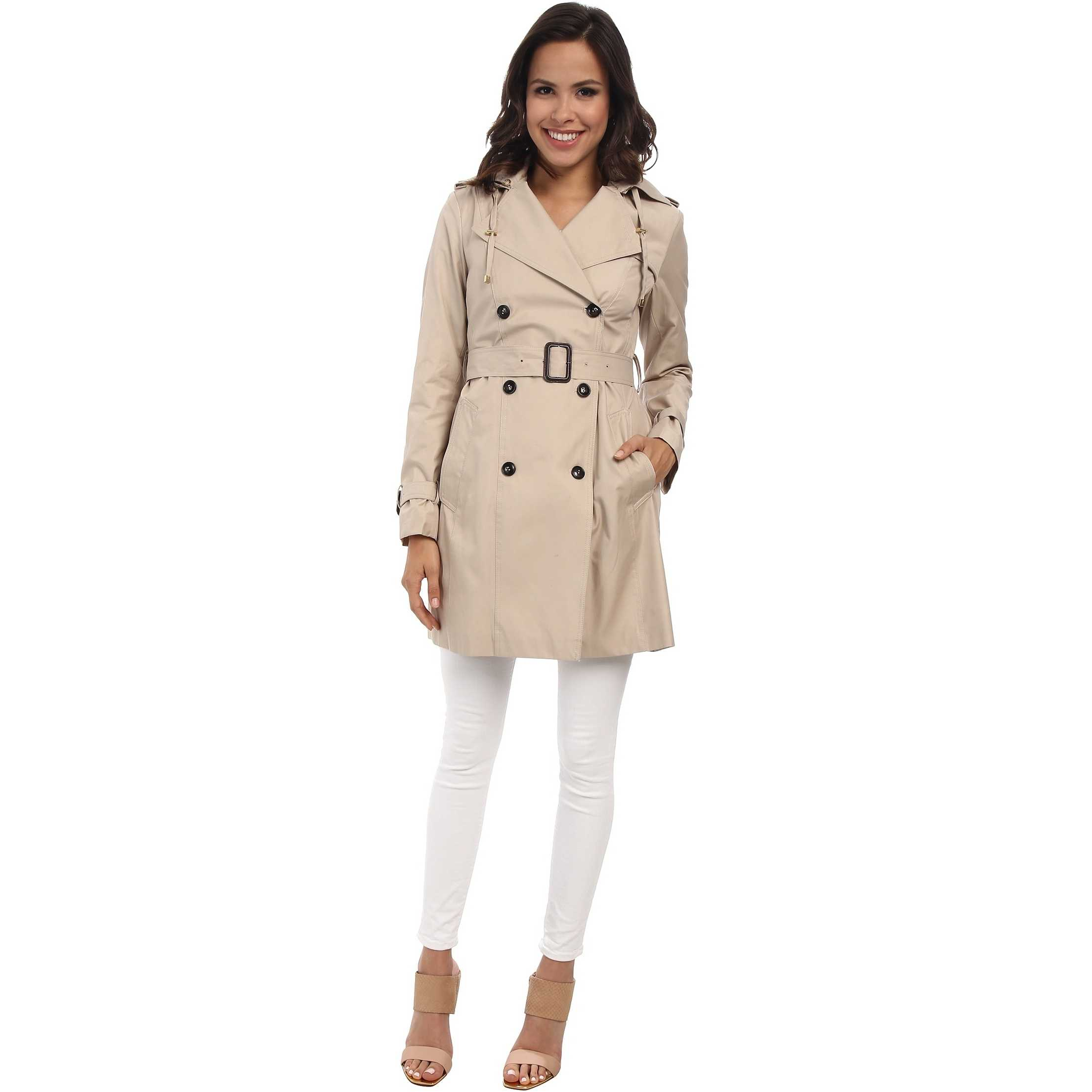 "Cole Haan 35 1/2"" Double Breasted Hooded Trench Sand pentru femei"