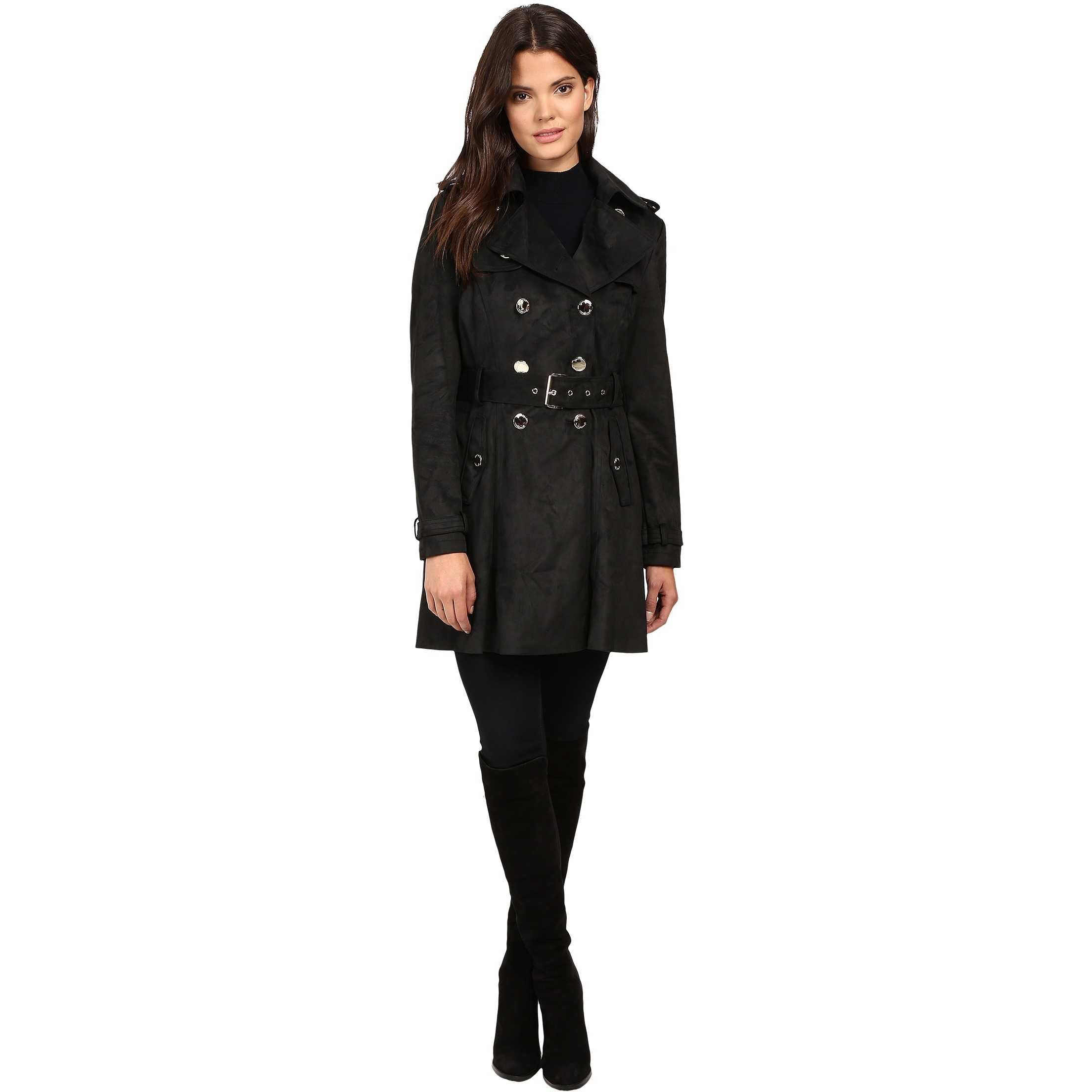 Jessica Simpson S Rain Trench with Double Breasted Buttons Black pentru dama