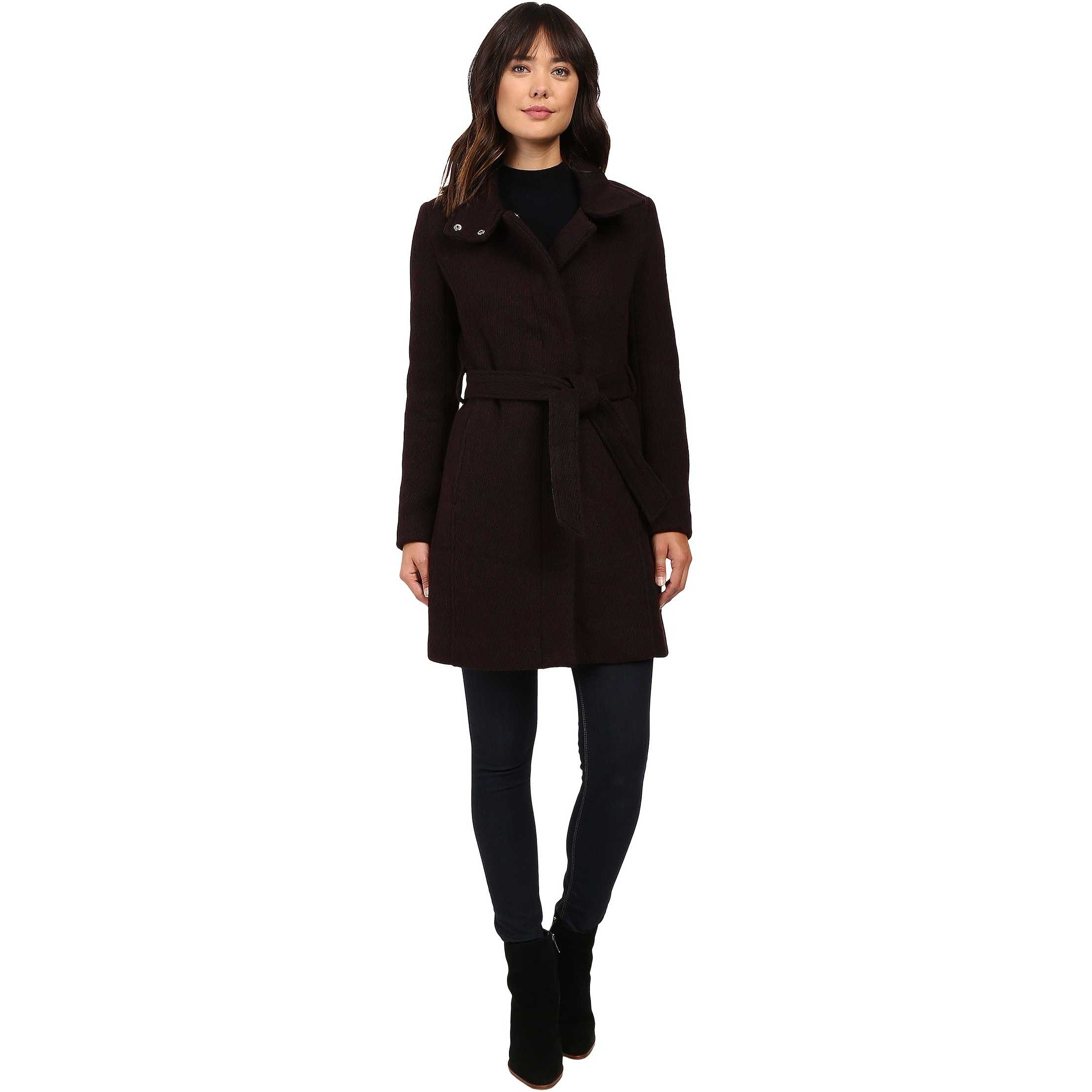 "Marc New York by Andrew Marc Tristina 35"" Brushed Twill Trench Coat Chianti/Black pentru dama"